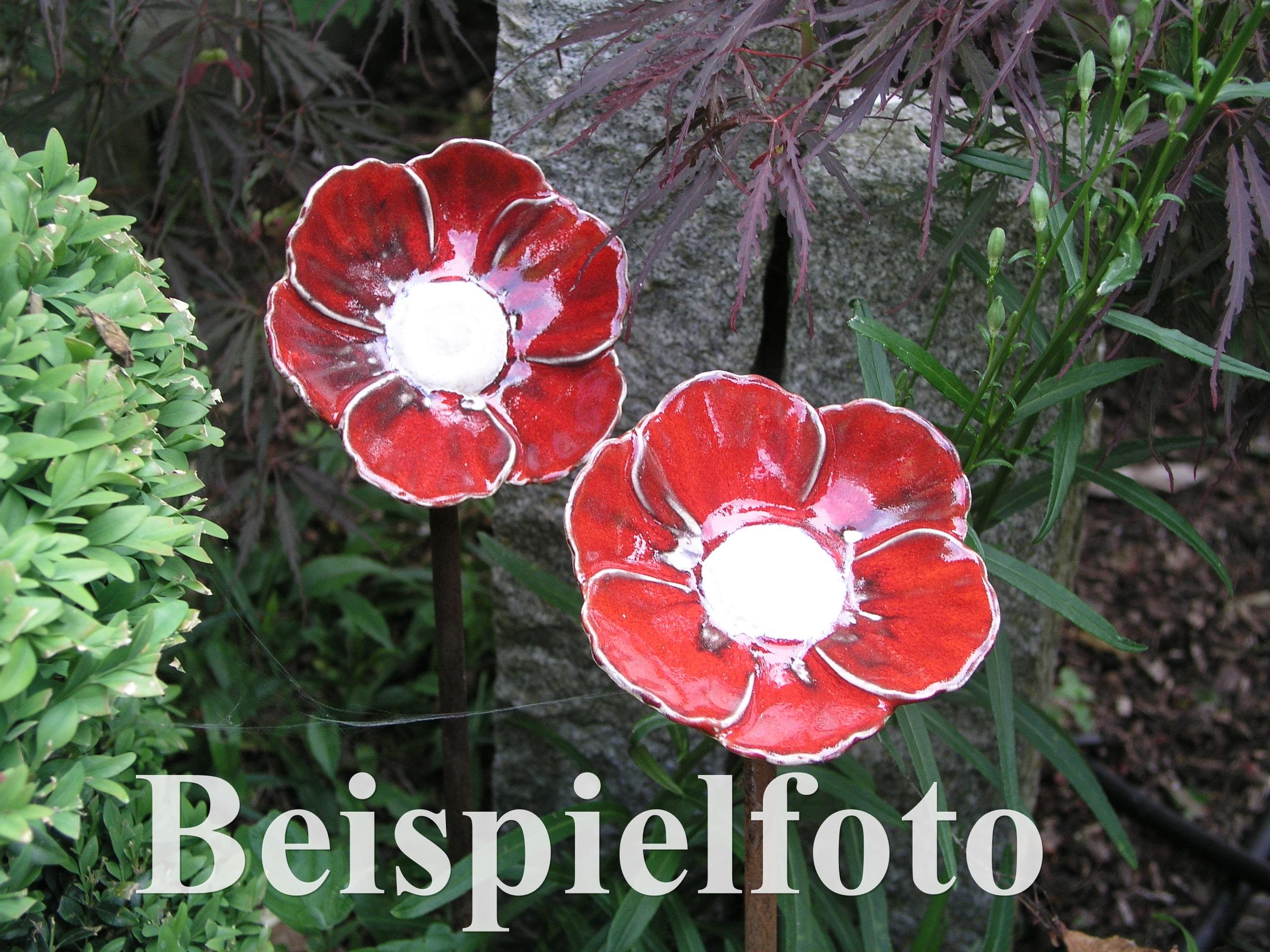 Frühlingsbote Mohnblume Insektentränke Vogeltränke Keramik dunkelrot