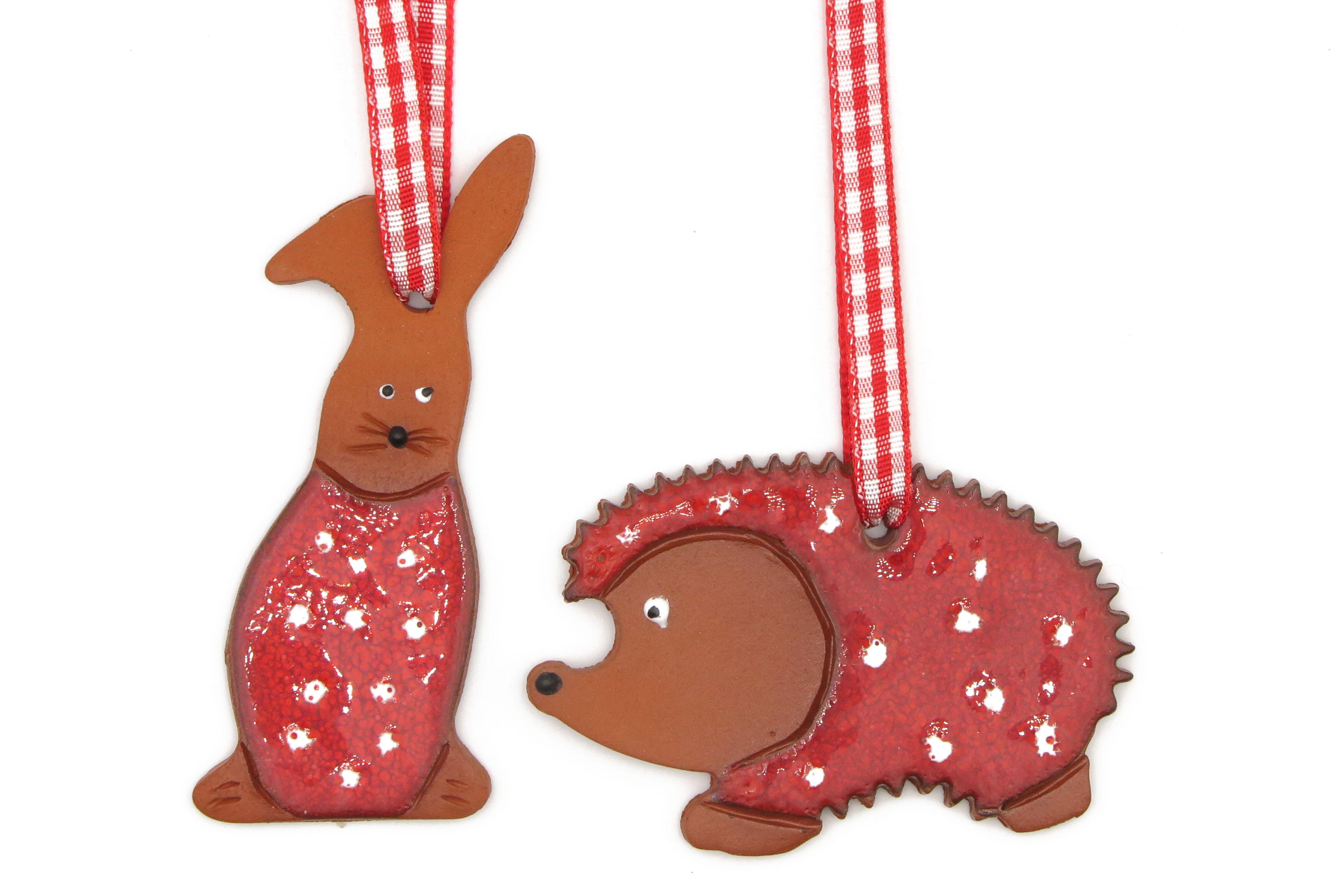 Hase und Igel Geschenk Anhänger Rot Keramik / M 6,5cm