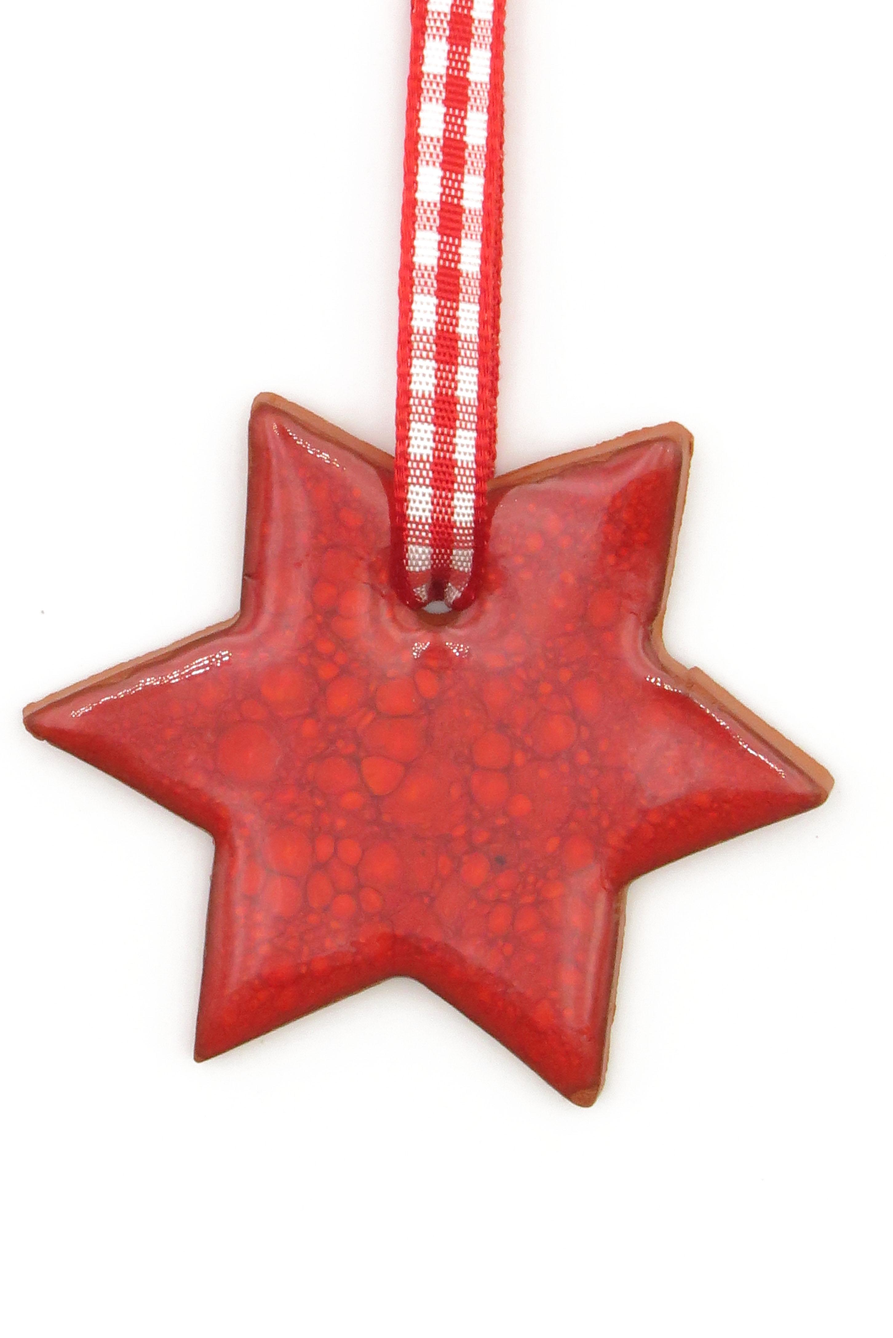 Stern Keramik Geschenk Anhänger Weihnachten rot/ M 5cm