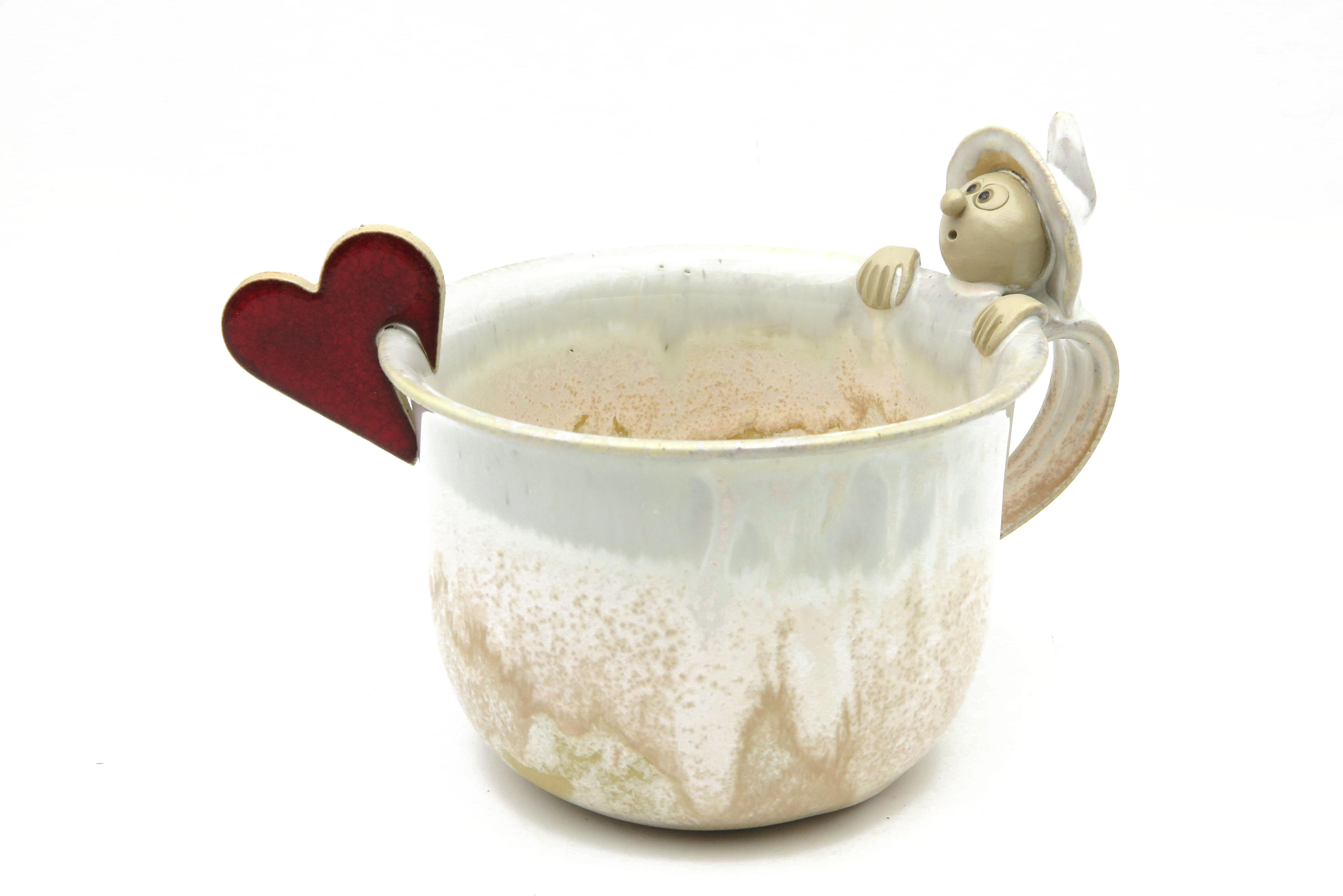 Herz Keramik  Tasse Tischschmuck rot/ M 4,5cm
