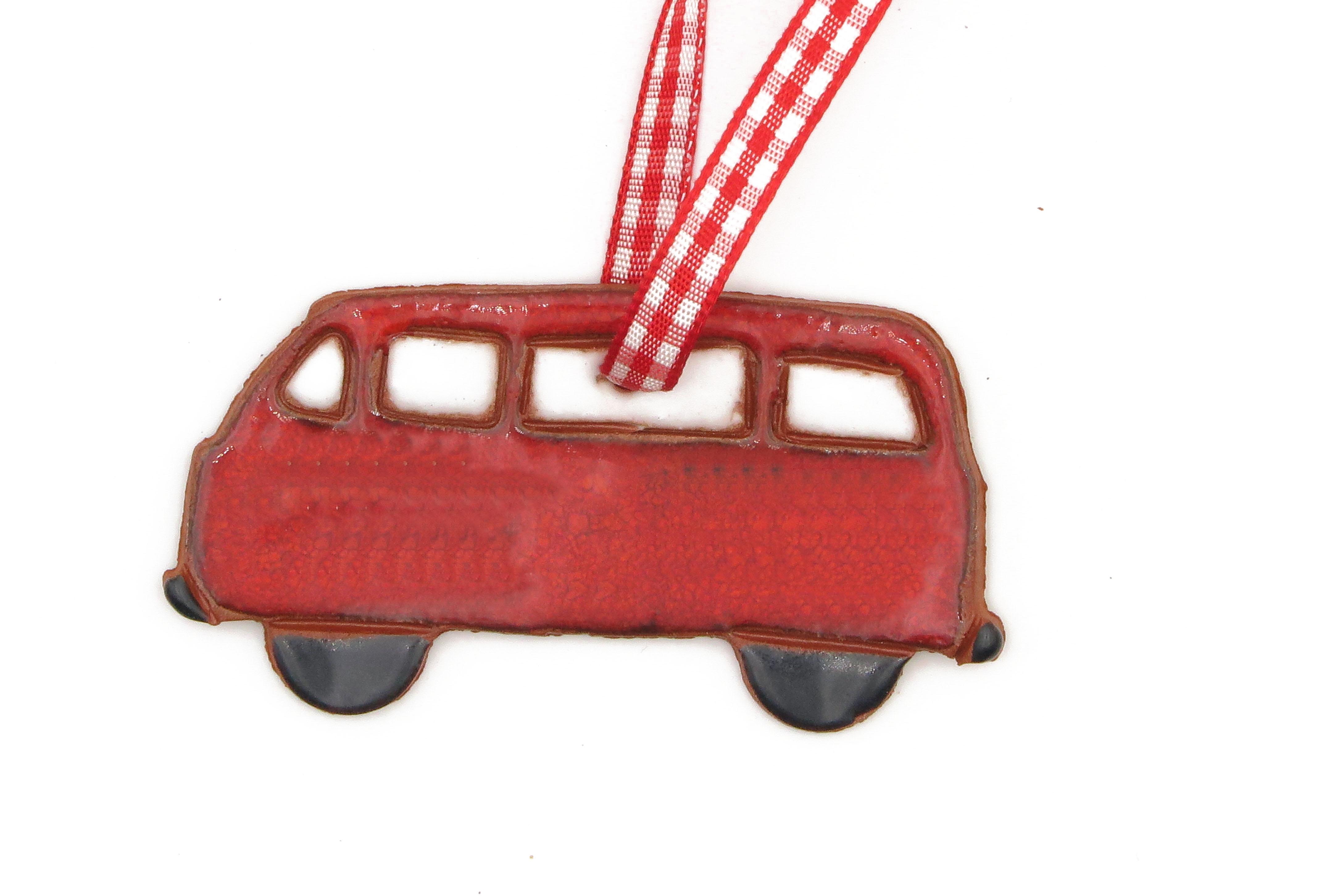 Bulli Bus Geschenk Anhänger Keramik Weihnachten rot/ M 7cm