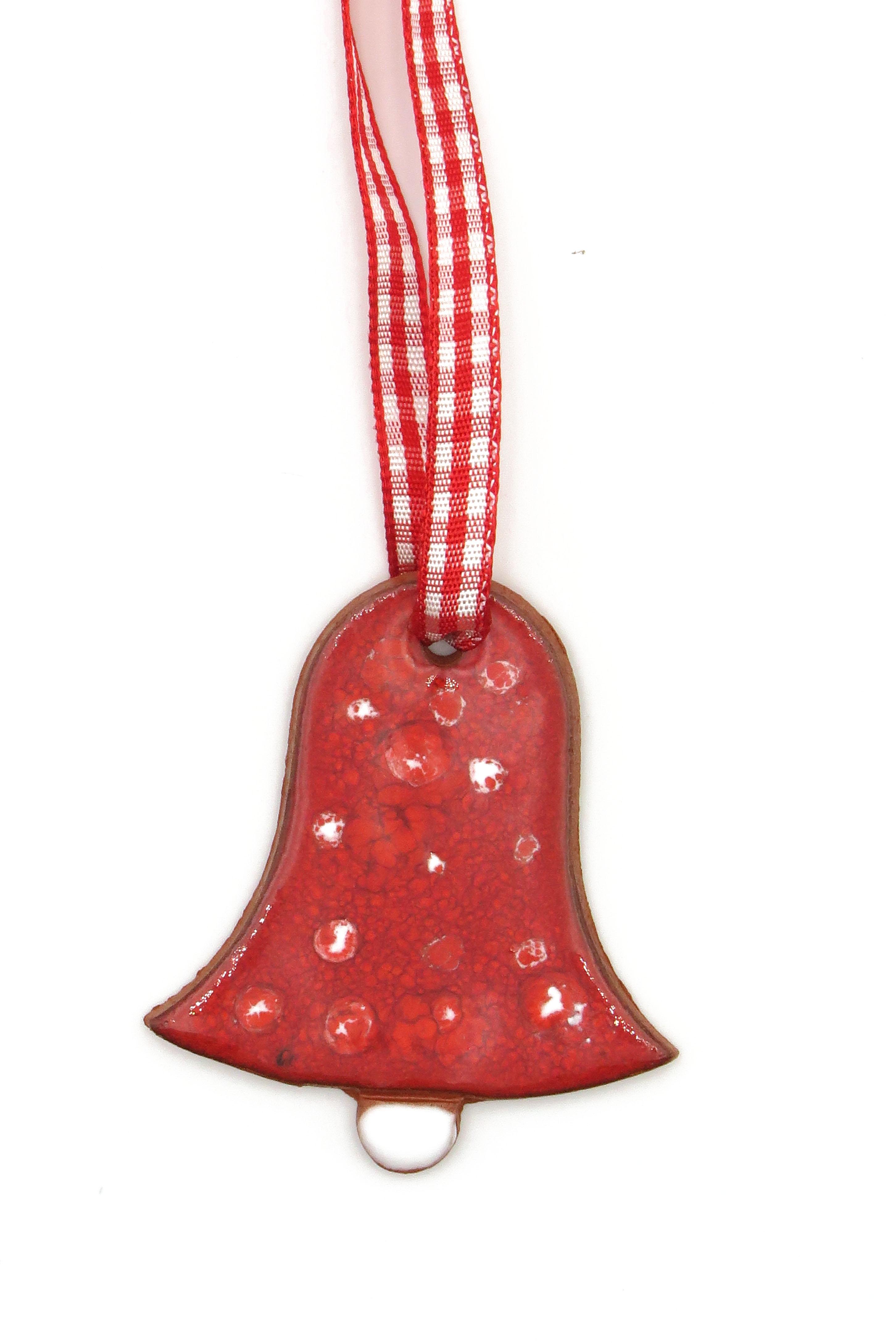 Glocke Geschenk Anhänger Weihnachten rot/ M 5cm