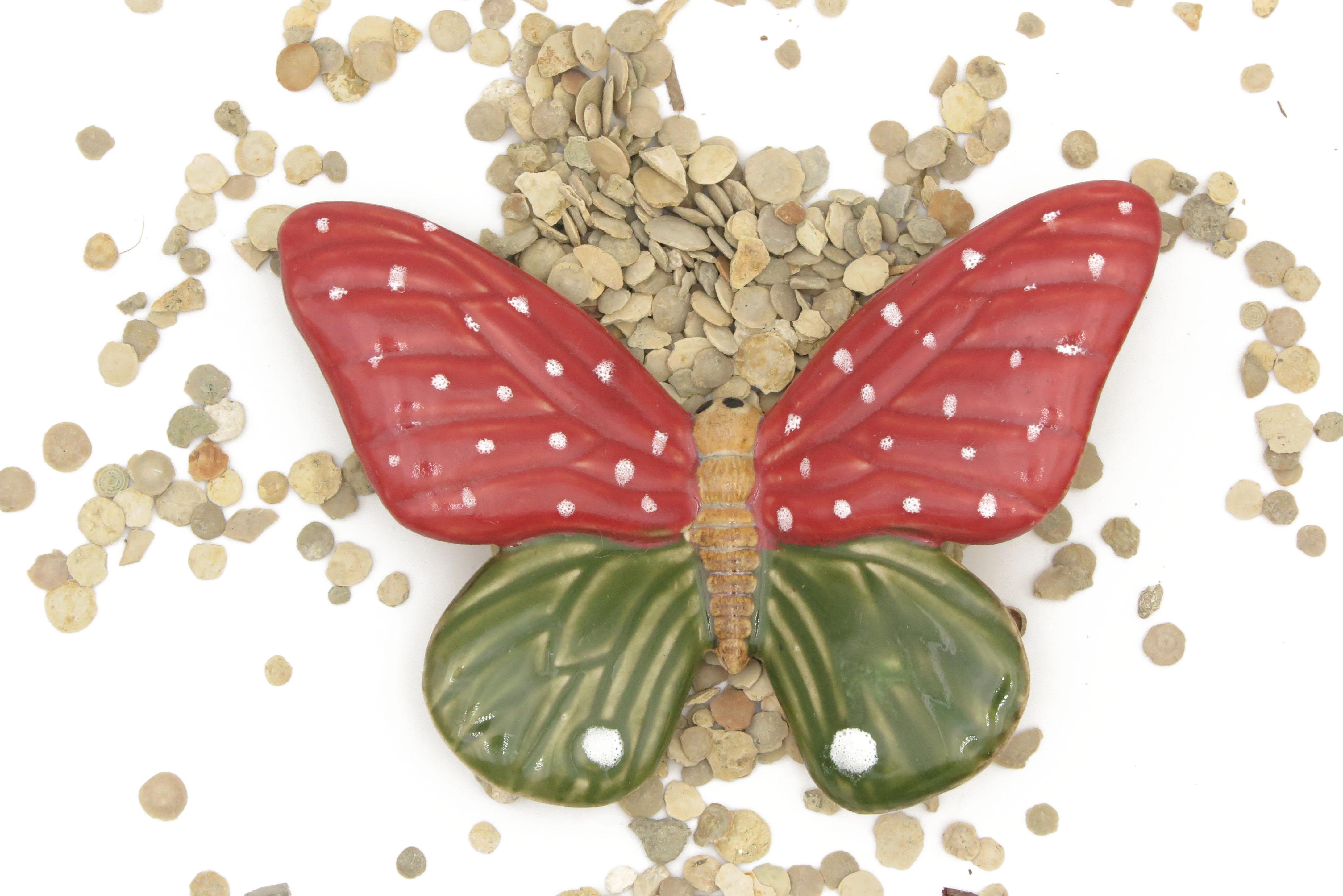 Schmetterling Rot Grün/ M 12 cm