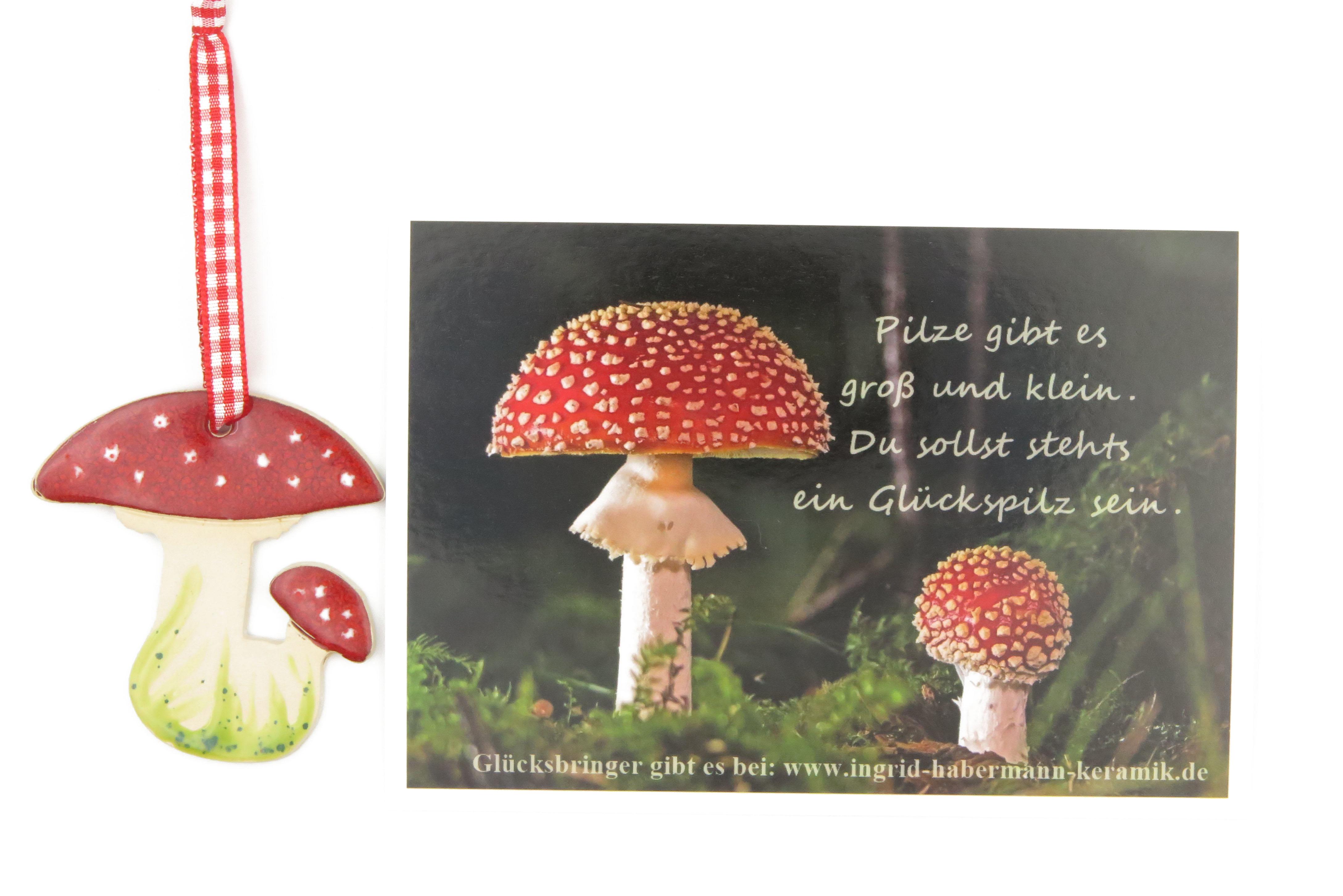 Glücksbringer Glückspilz Fliegenpilz mit lieblicher Glückspilz-Postkarte