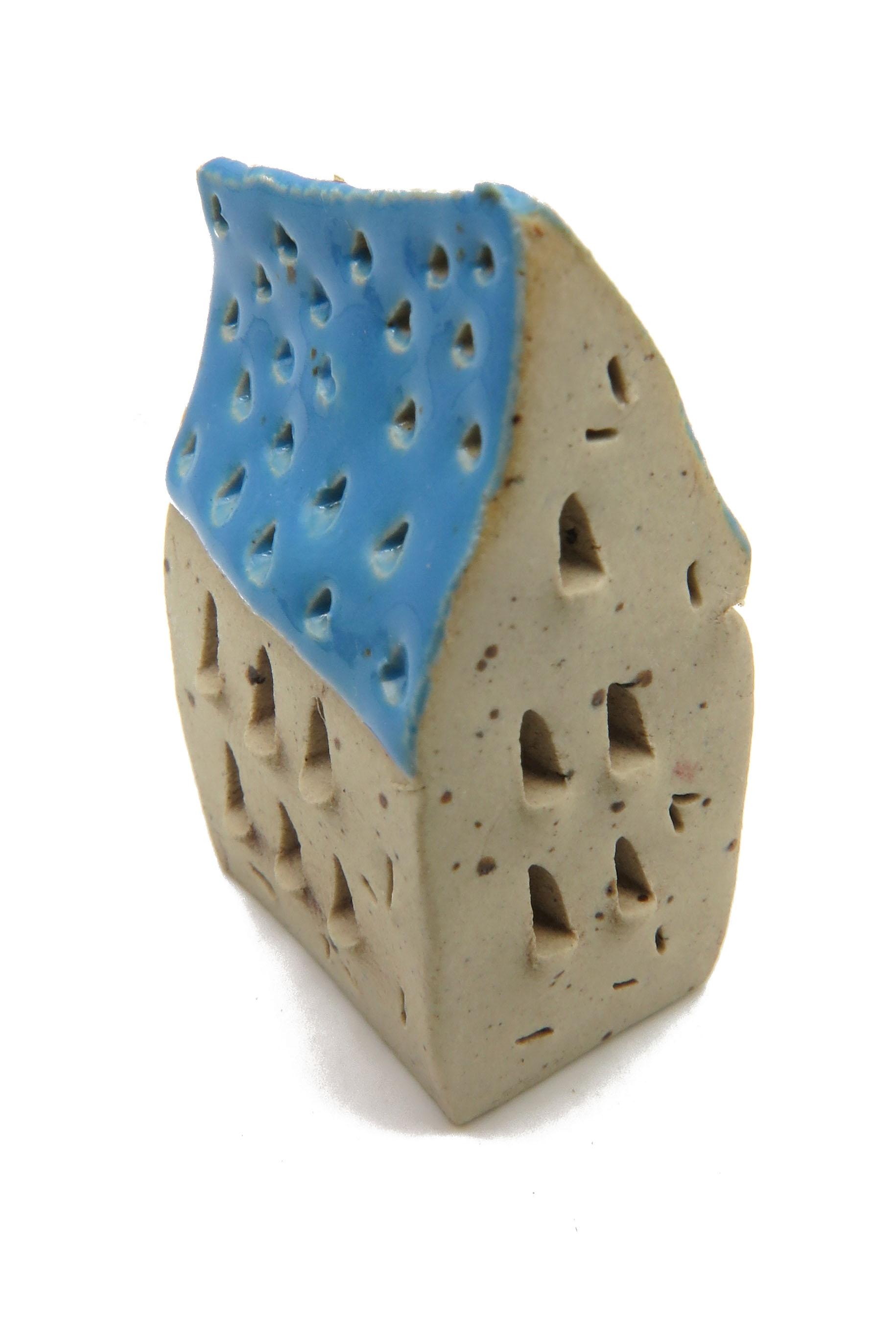 Schiefes Häuschen Blau/ S 4 cm