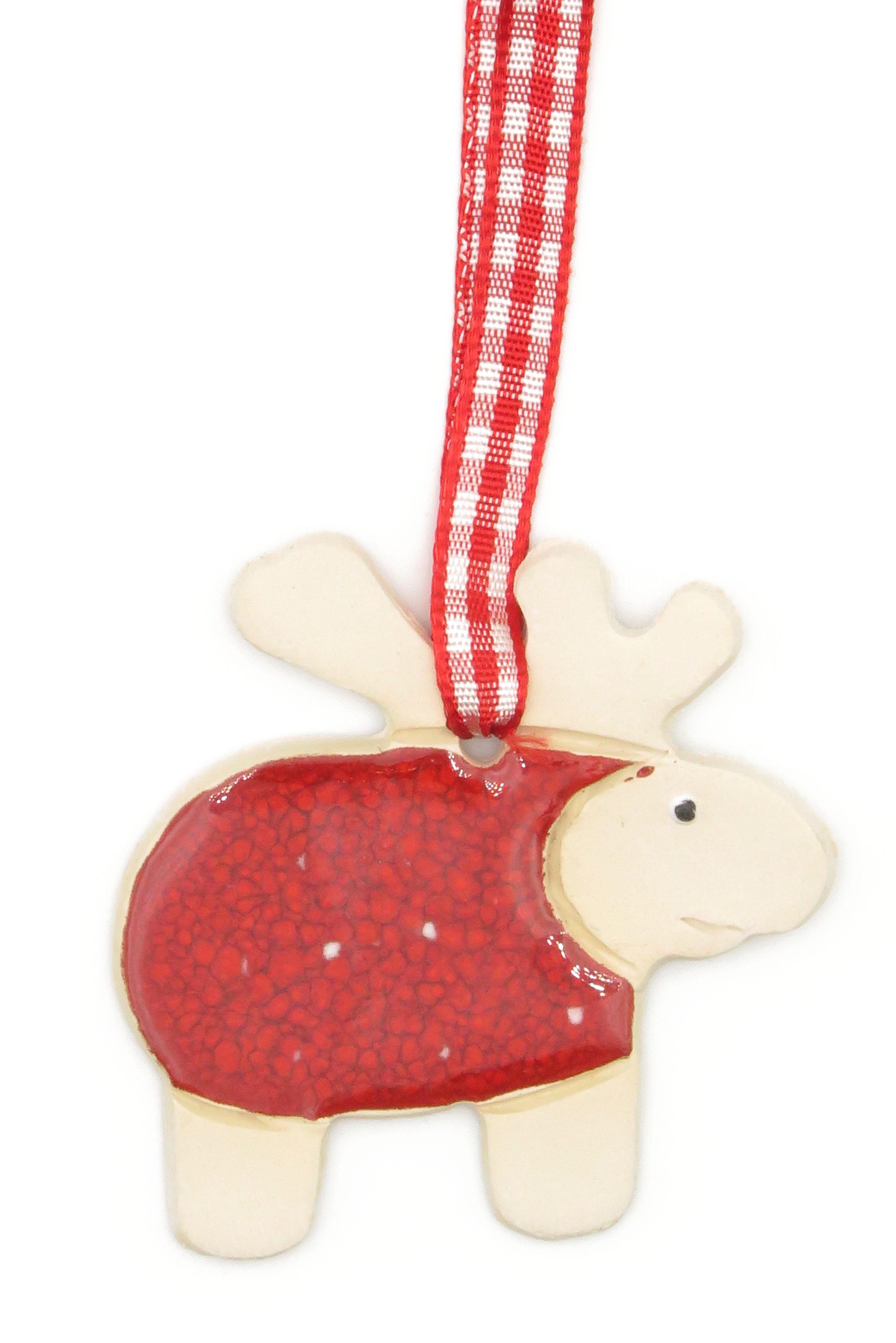 Elch Geschenk Anhänger Weihnachten rot/ M 5cm