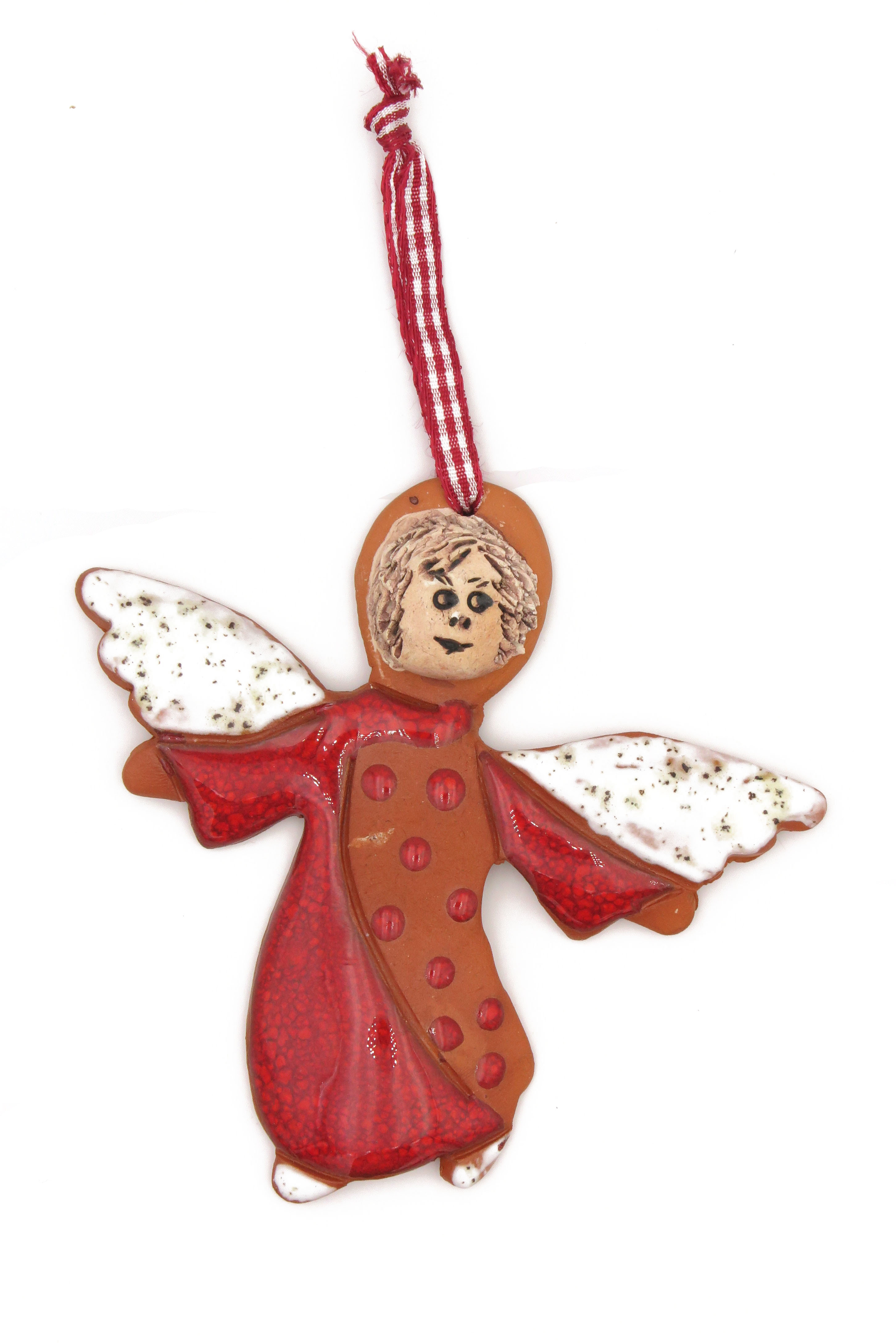 Engel Schutzengel Keramik Geschenk Anhänger rot/  10cm