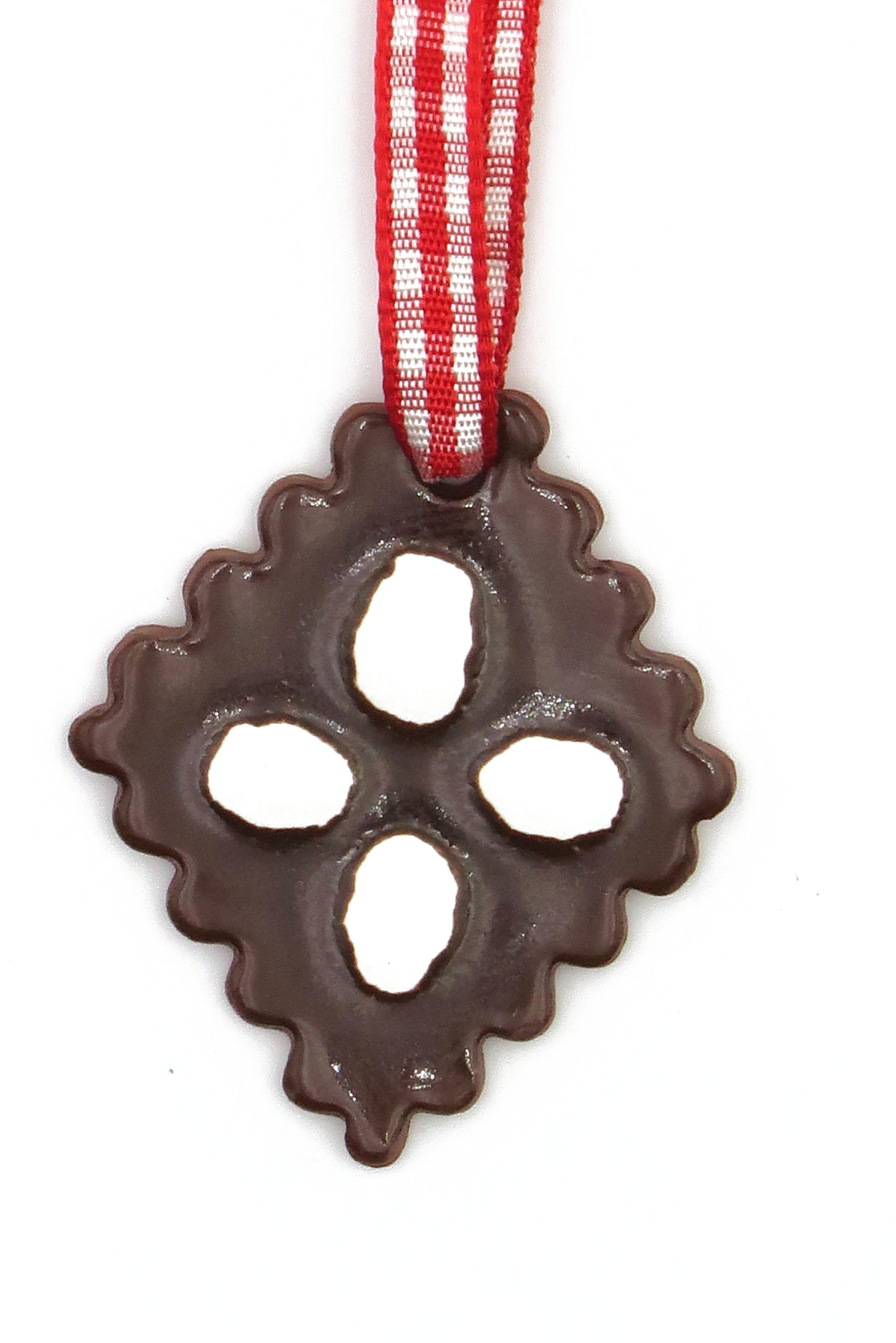 Schoko Lebkuchen mit Zuckerguss Keramik Geschenk Anhänger Weihnachten/ M 3cm