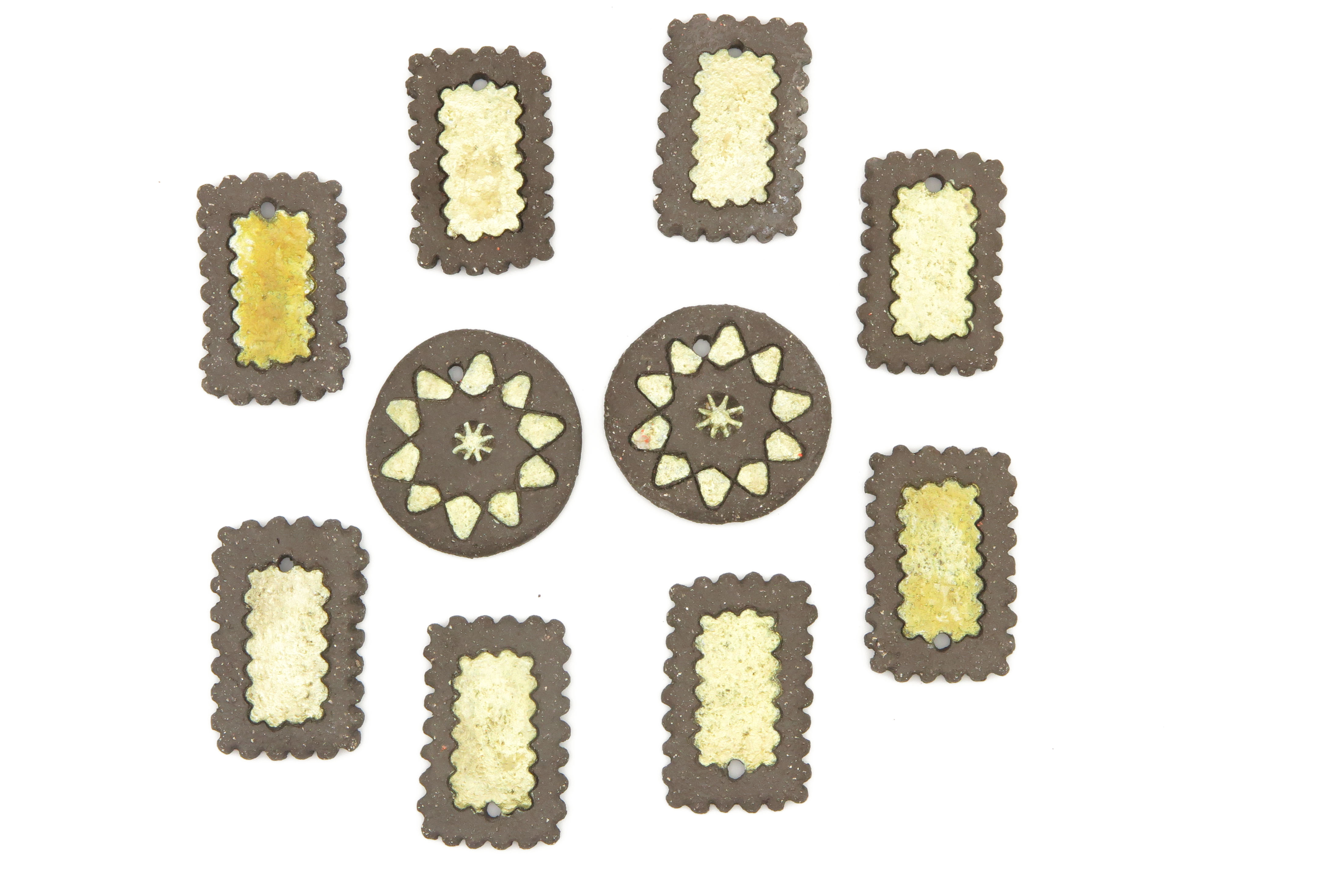 10 Medaillon Lebkuchen Anhänger mit Golddekor 5cm
