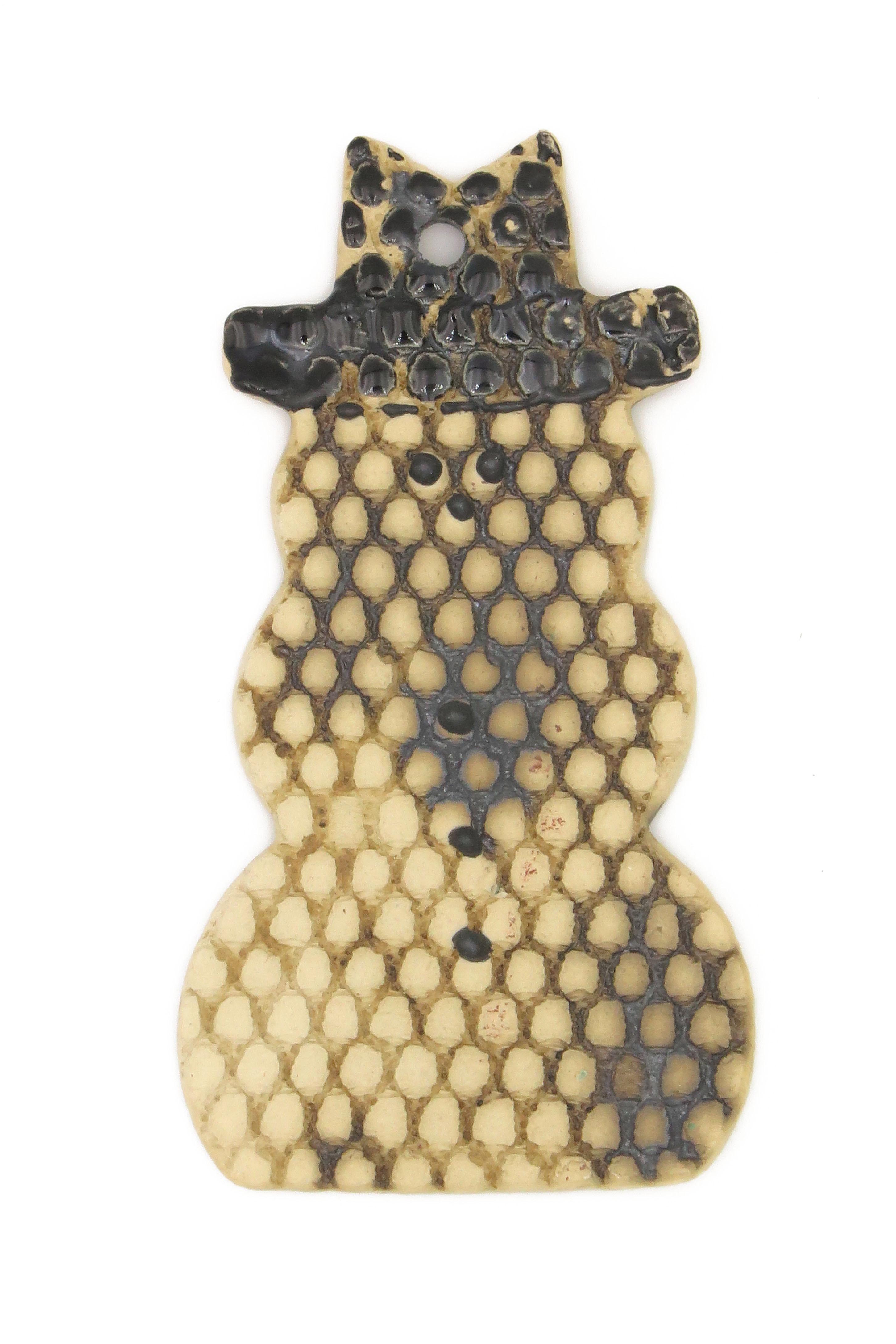 1 natürlicher Schneemann Geschenk Anhänger creme/ M 10cm