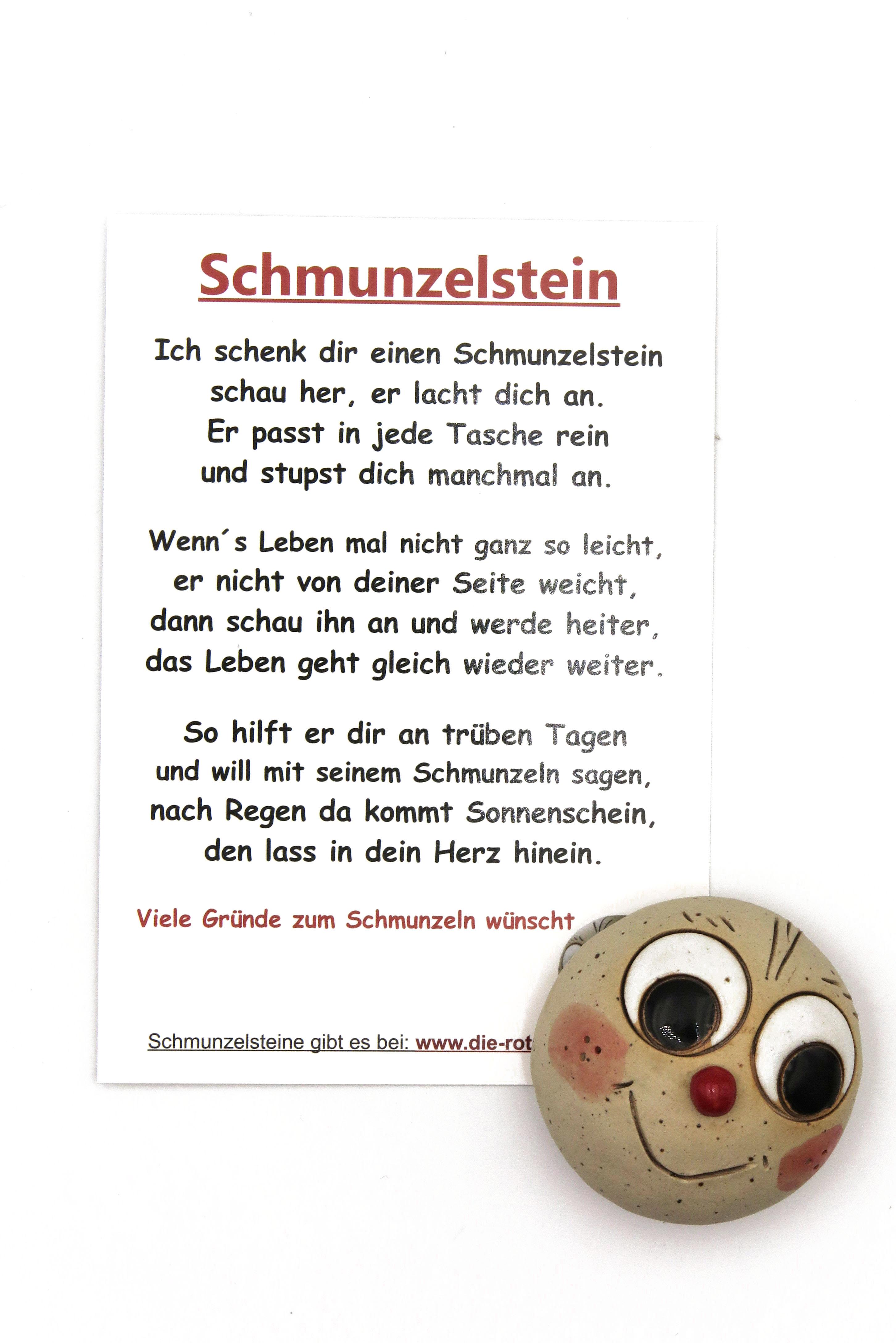 Schmunzelstein Glücksbringer mit Spruch-Postkarte Größe L/ 5cm