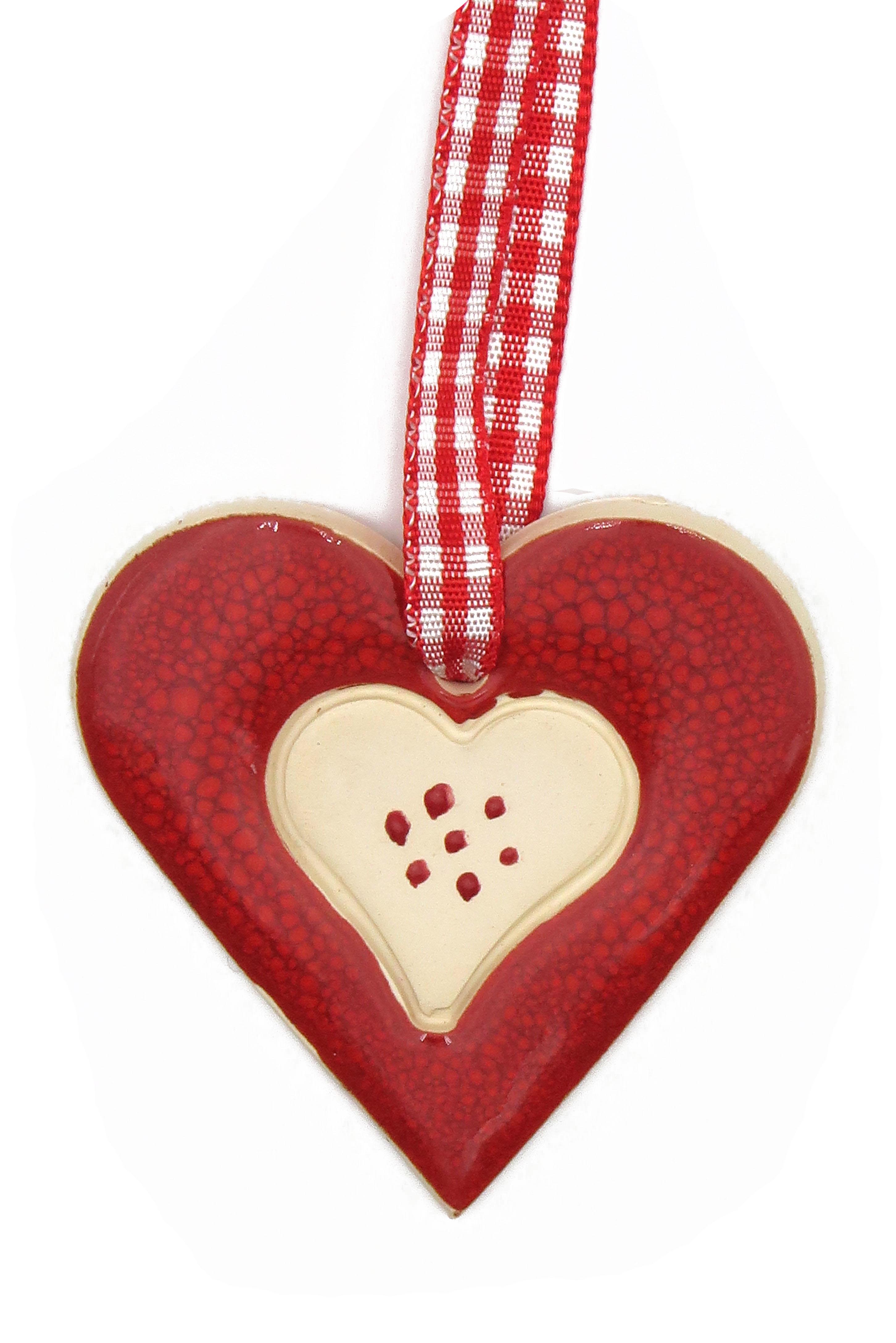 Herz Keramik Geschenk Anhänger rot/ M 5cm