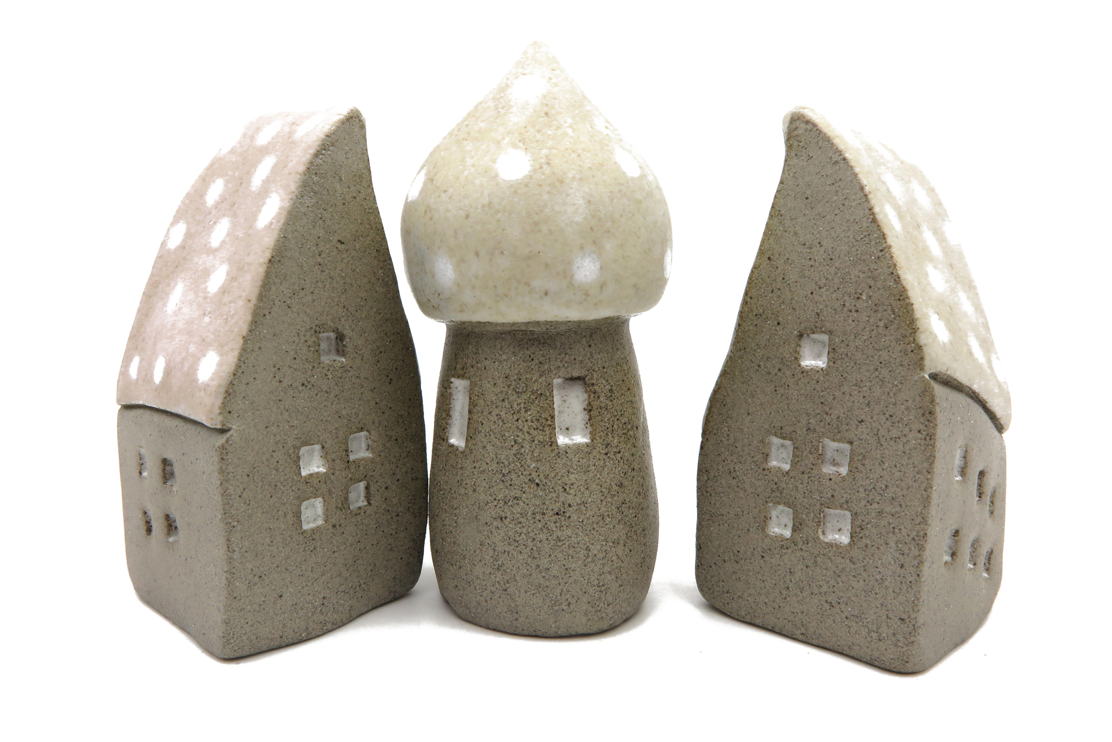 Schiefes Häuschen Miniaturstadt Feengarten Keramik / M 10cm