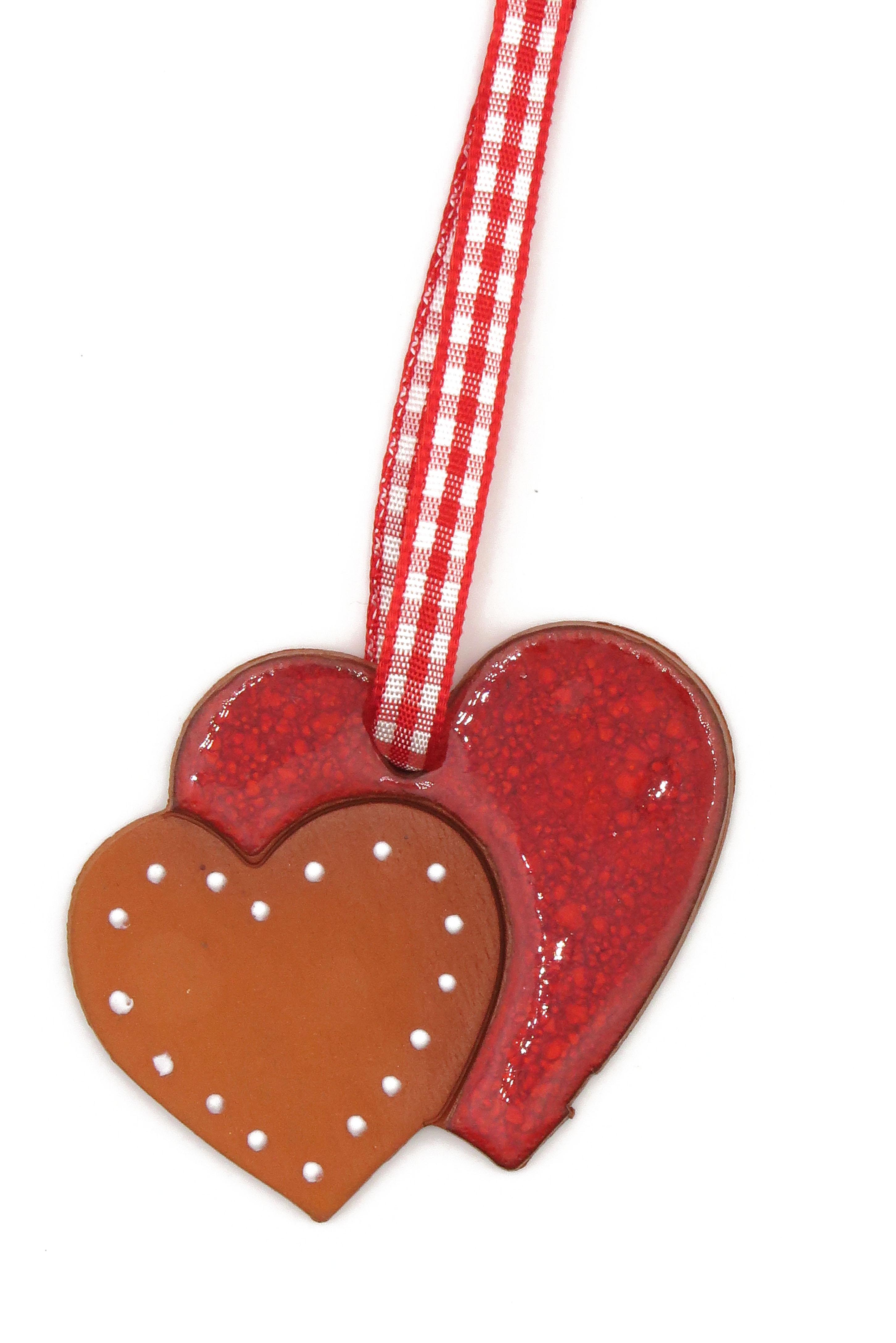 Doppel Herz Keramik Geschenk Anhänger/ M 5cm