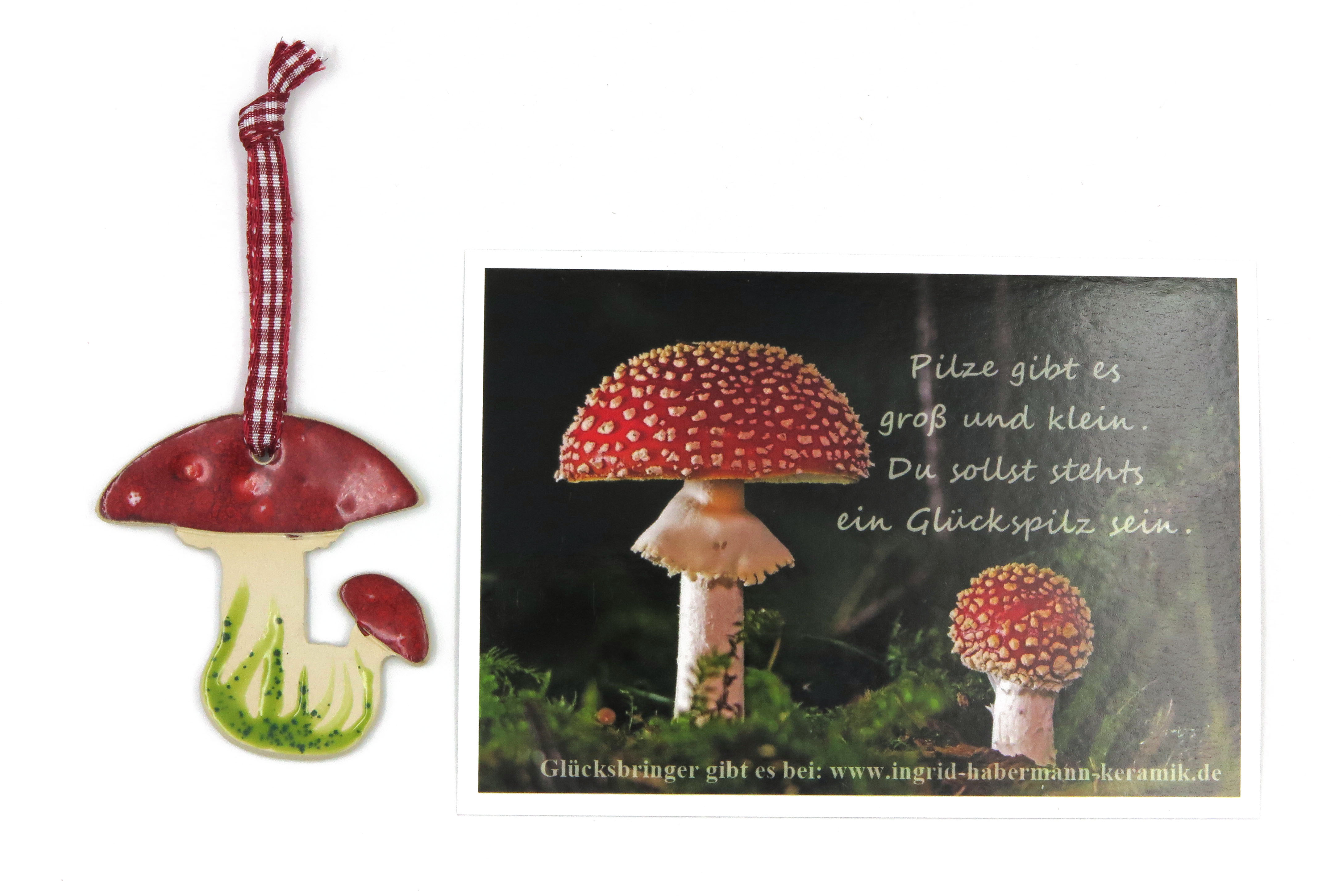 Glücksbringer Glückspilz Fliegenpilz 3 Stück mit lieblicher Glückspilz-Postkarte/ B-Ware