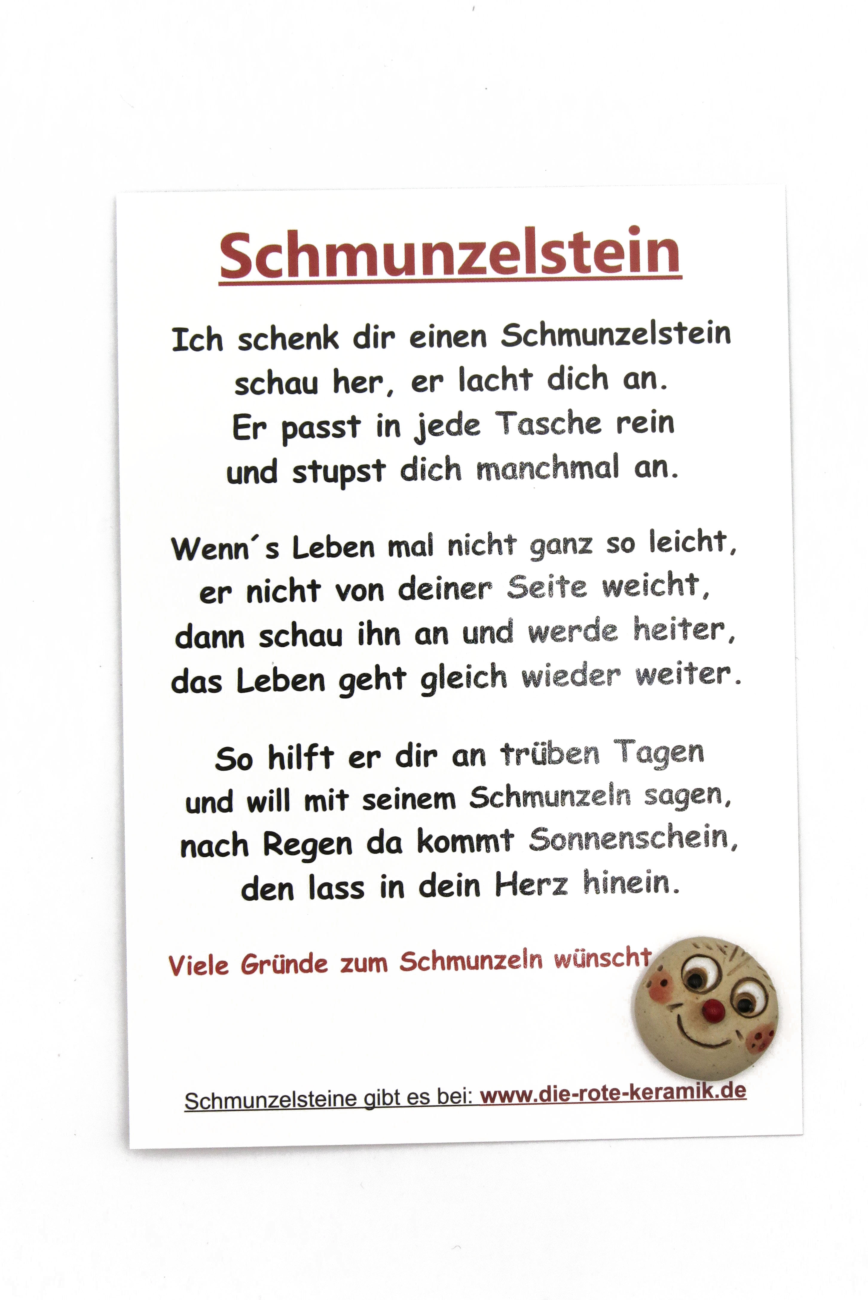 Schmunzelstein zum Einstecken mit Spruch-Postkarte in Größe S/ 1,5cm