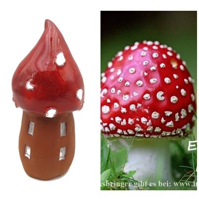 Glückspilz-Türmchen Rapunzel-Türmchen Rot  Insektenhotel mit Glückspilzkarte/ L 14 cm