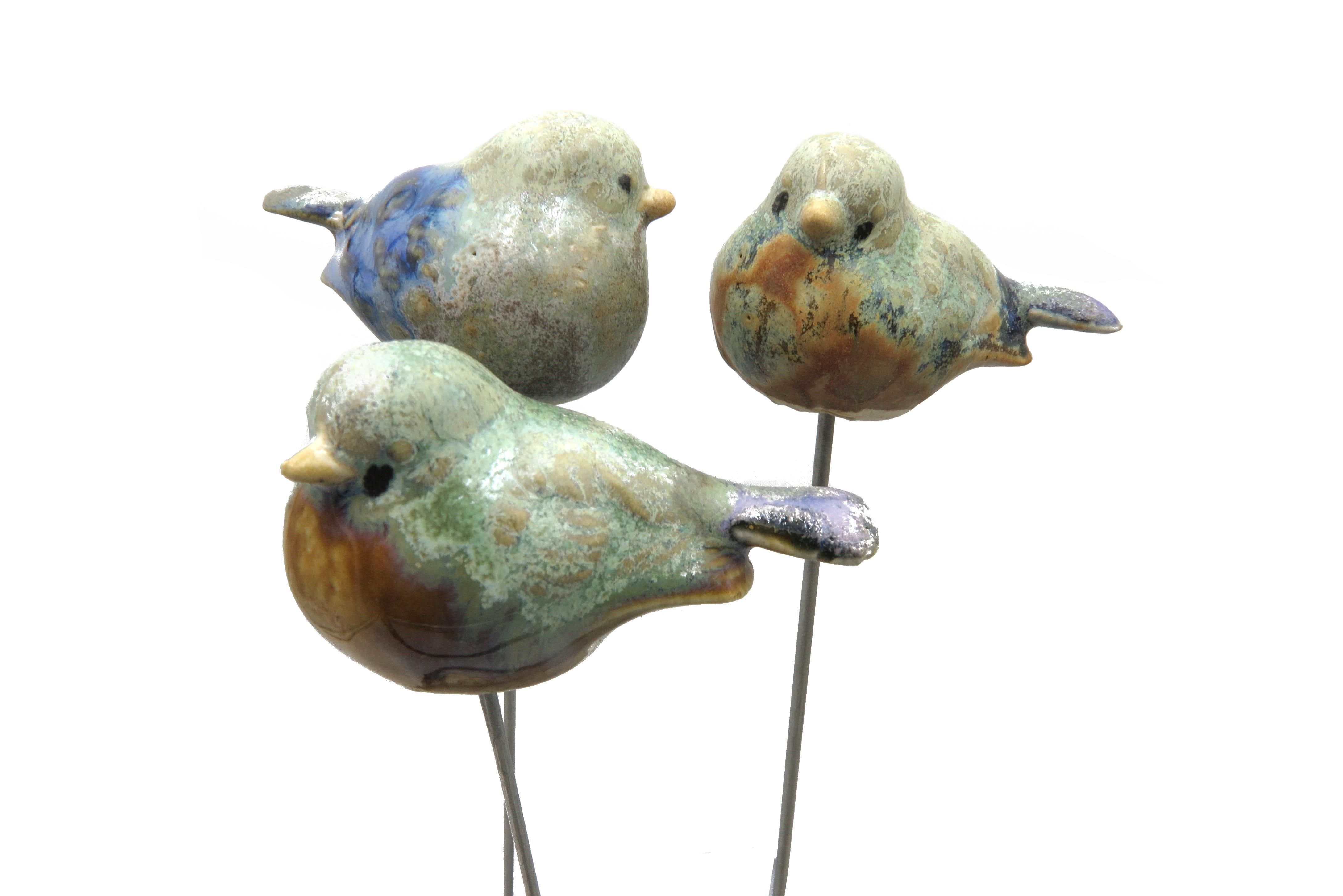 Steck-  Vogel Spatz blau grün/ 6 cm