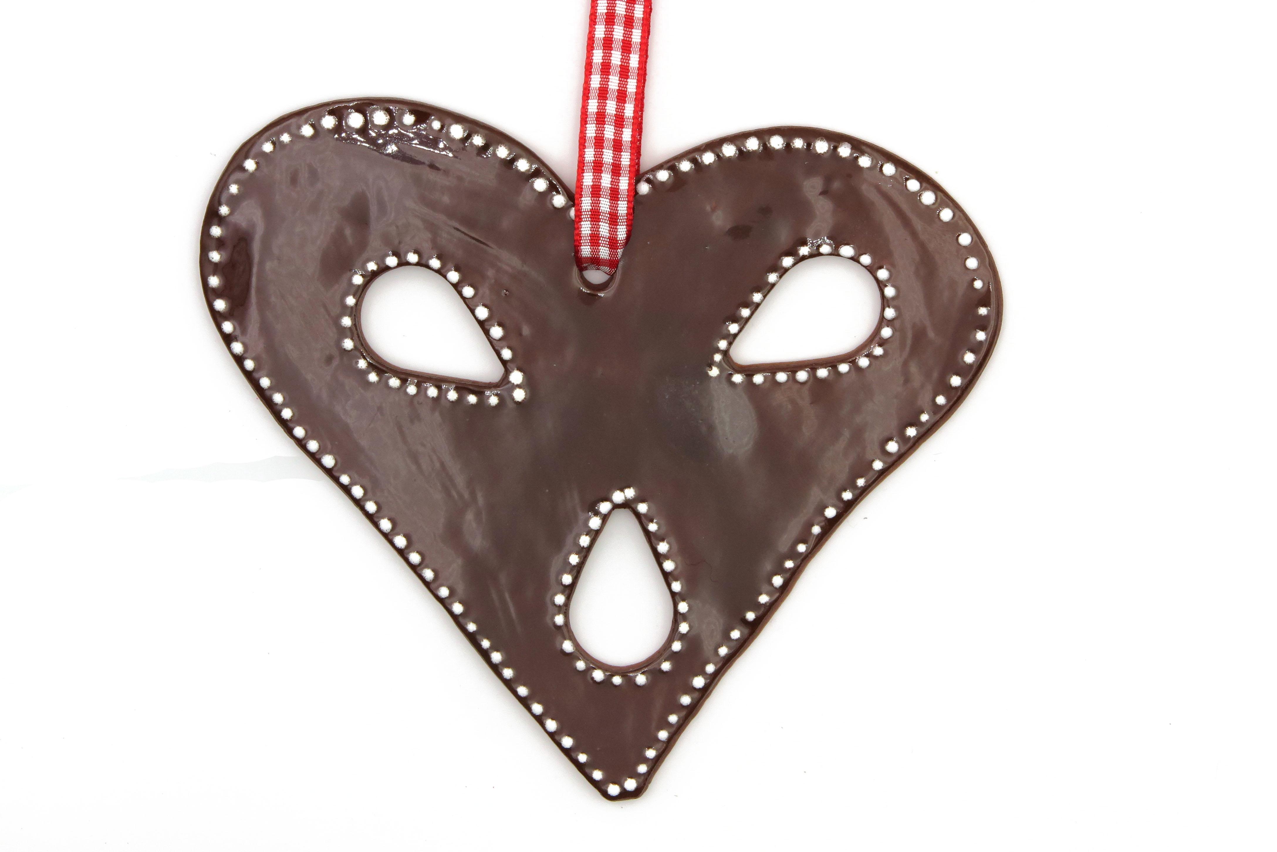 Schoko Lebkuchen Herz mit Zuckerguss Keramik Geschenk Anhänger / L 13cm