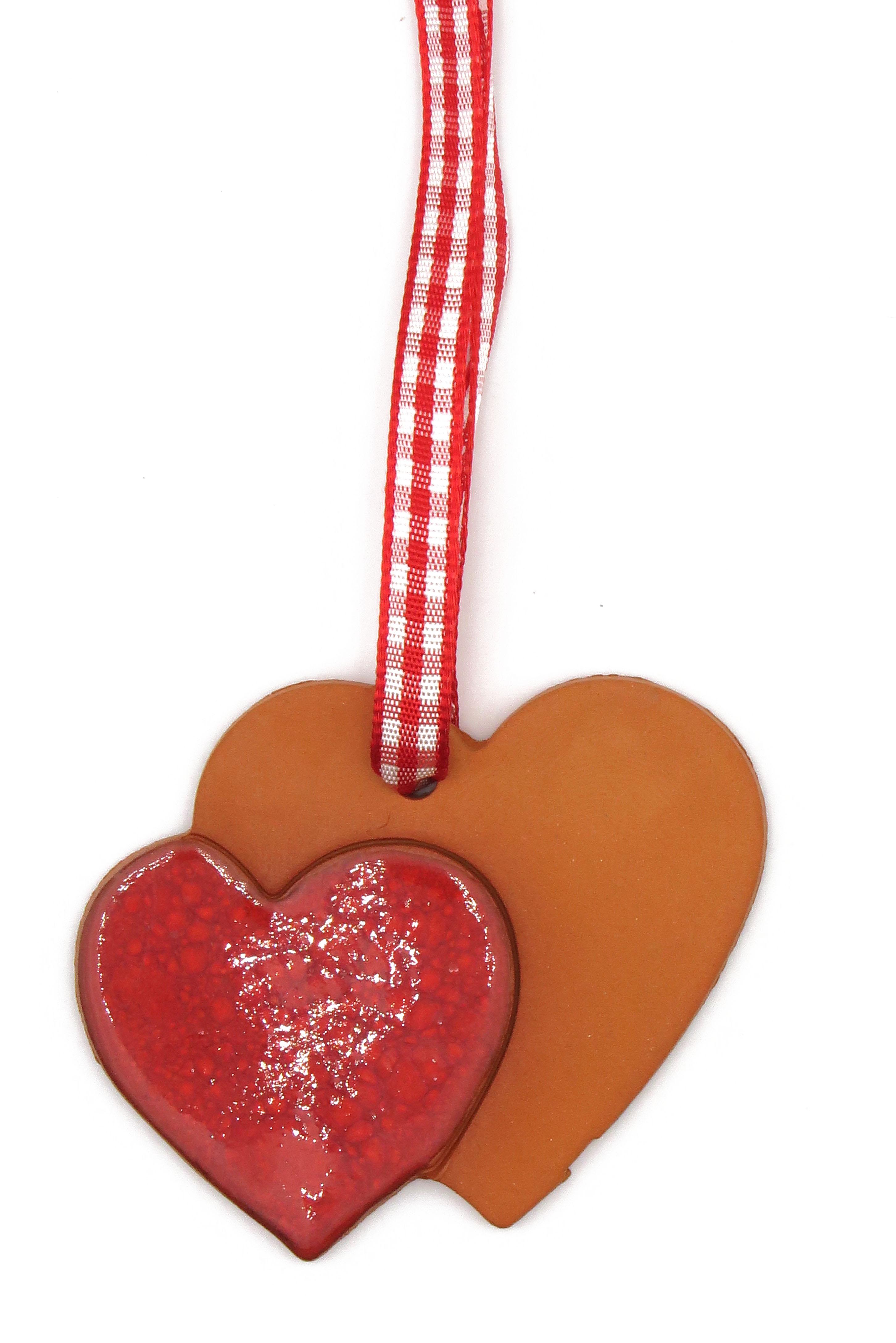 Doppel Herz Geschenk Anhänger Keramik Rot/ M 5cm