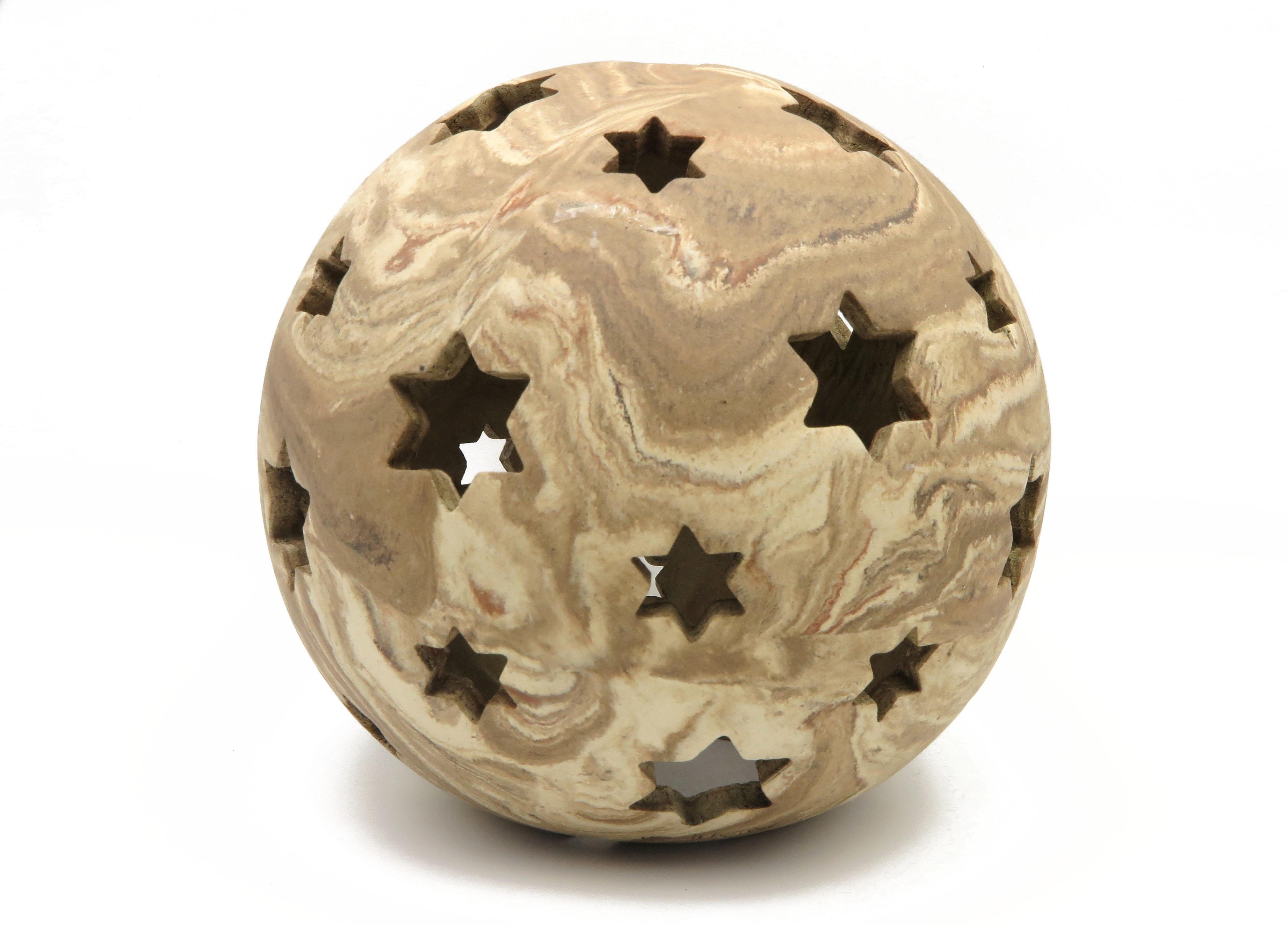 Kugel zum Beleuchten in Holz Optik / S 19cm