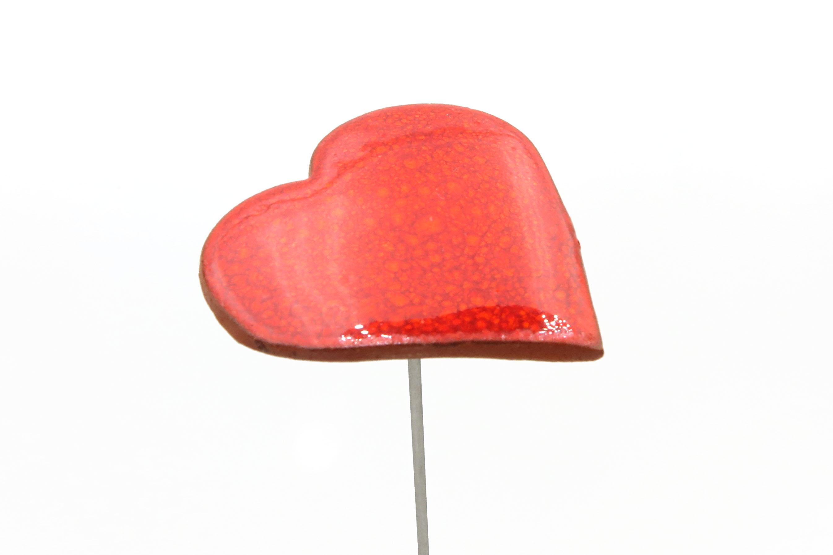 Steckblümchen Herz Weihnachten rot/ M 4,5cm