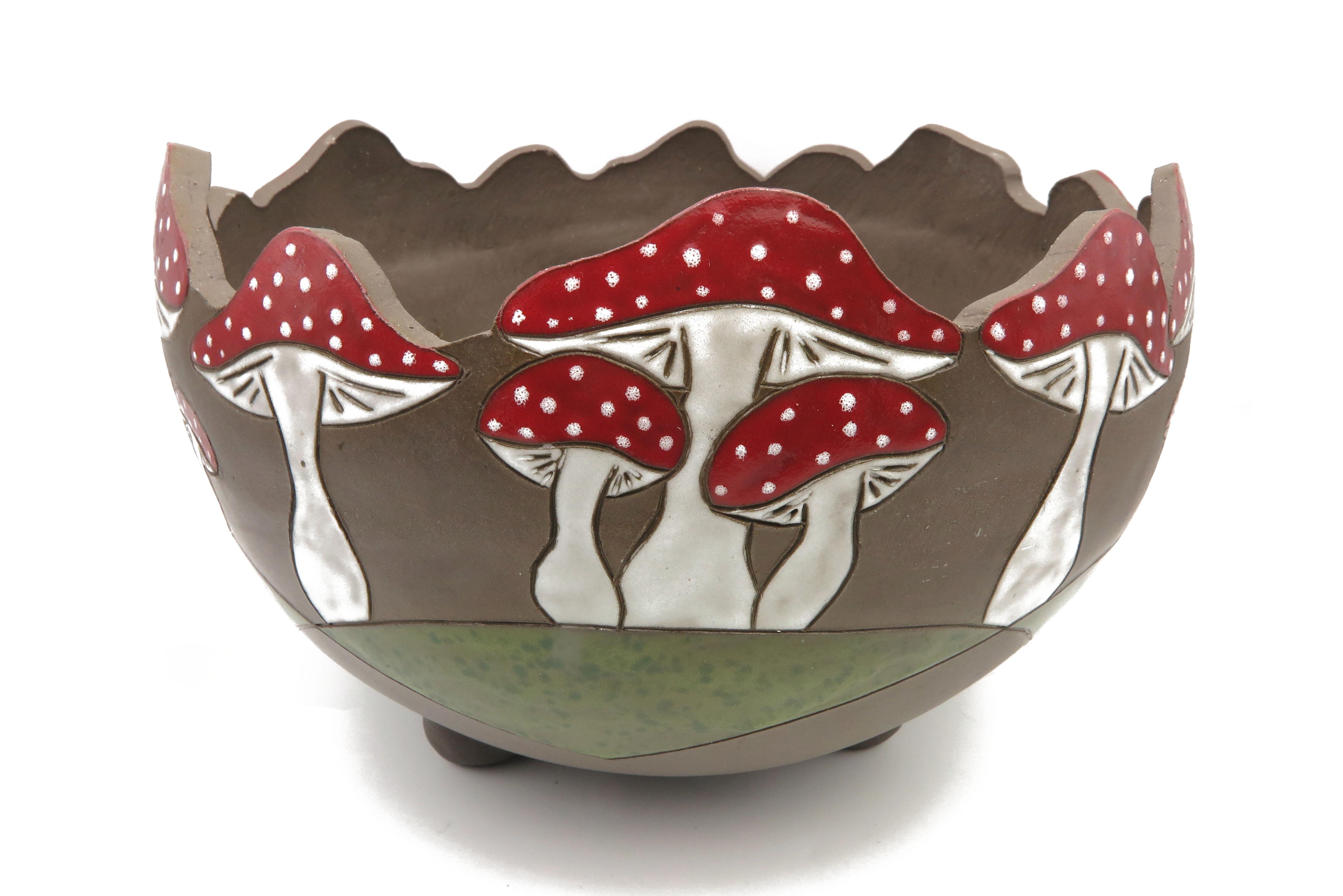 Pflanzgefäß Übertopf mit Pilzmotiv Keramik/   28cm x 18cm
