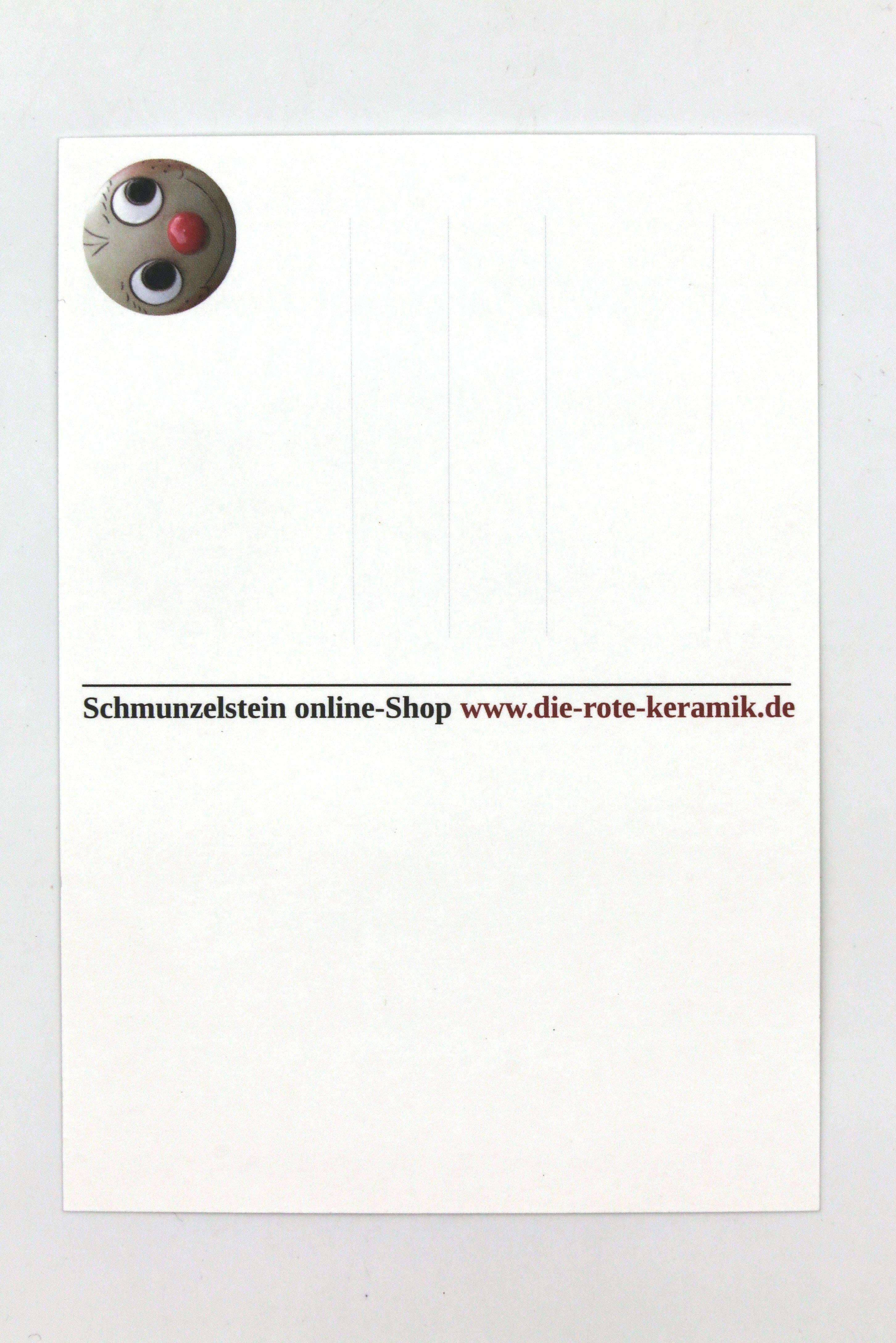 Schmunzelstein mit Krokodilklemme und Spruch- Postkarte Größe L/ 5cm