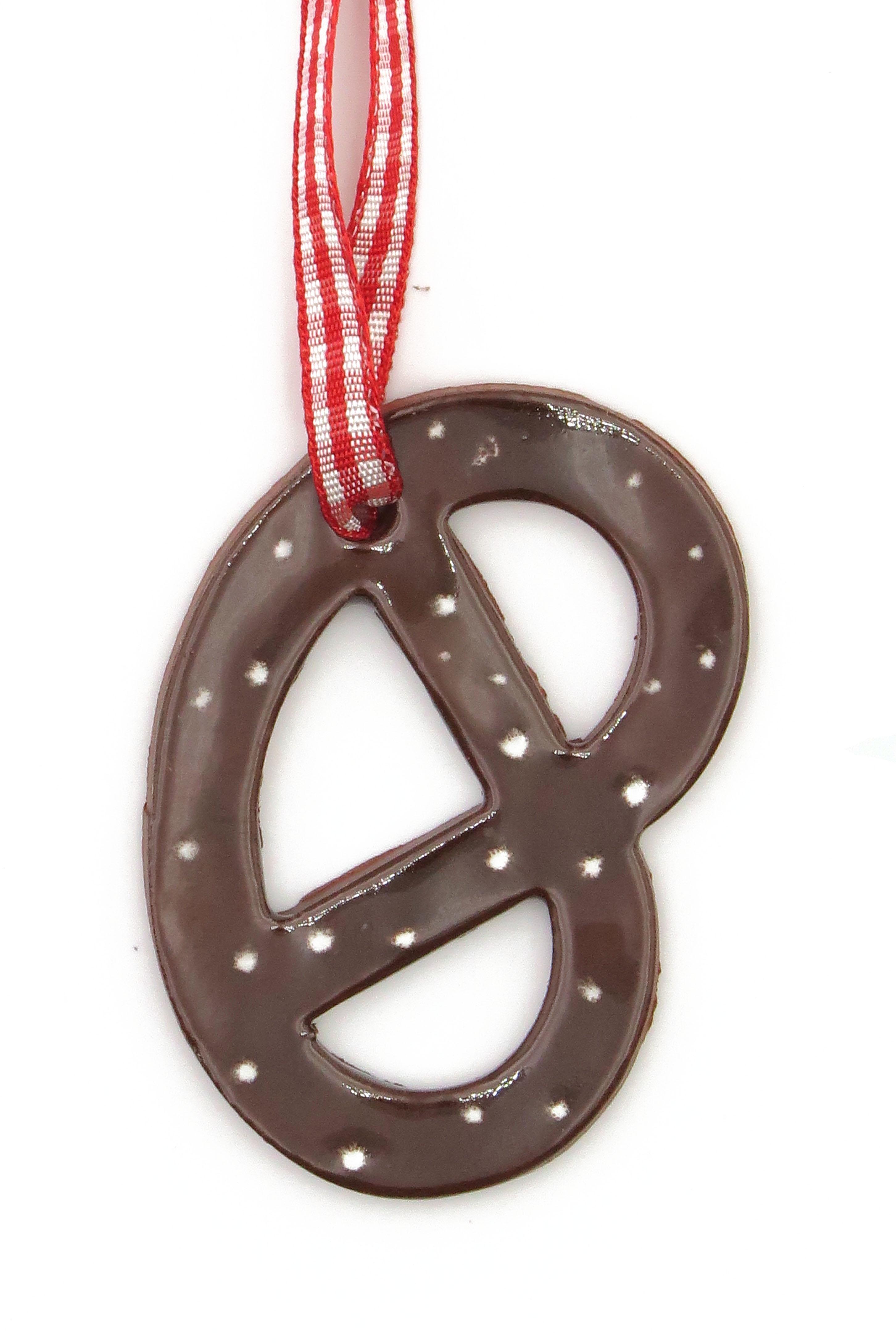 Schoko Lebkuchen Brezel mit Zuckerguss Keramik Geschenk Anhänger Weihnachten/ M 5,5cm