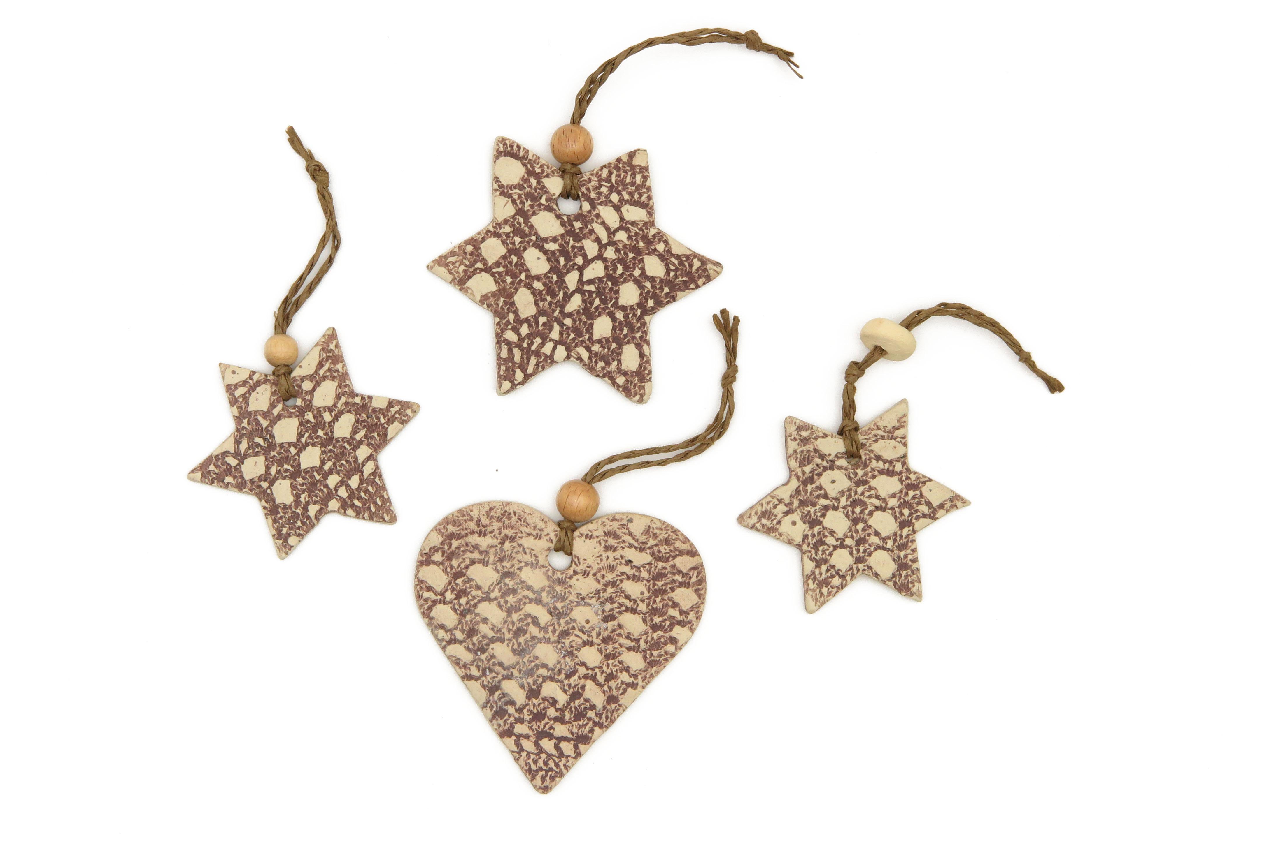 Stern und Herz Keramik Geschenk Anhänger 4 Stück/M bis 7cm