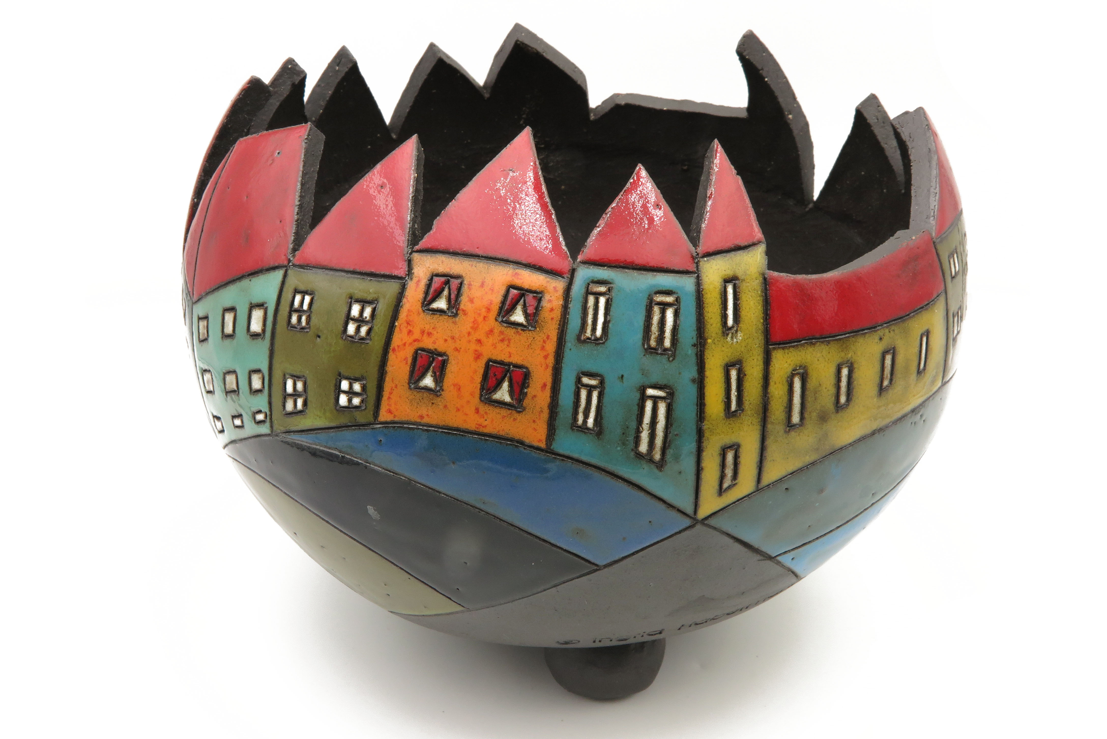 Pflanzgefäß Übertopf mit Häusermotiv Keramik/   24cm x 18cm