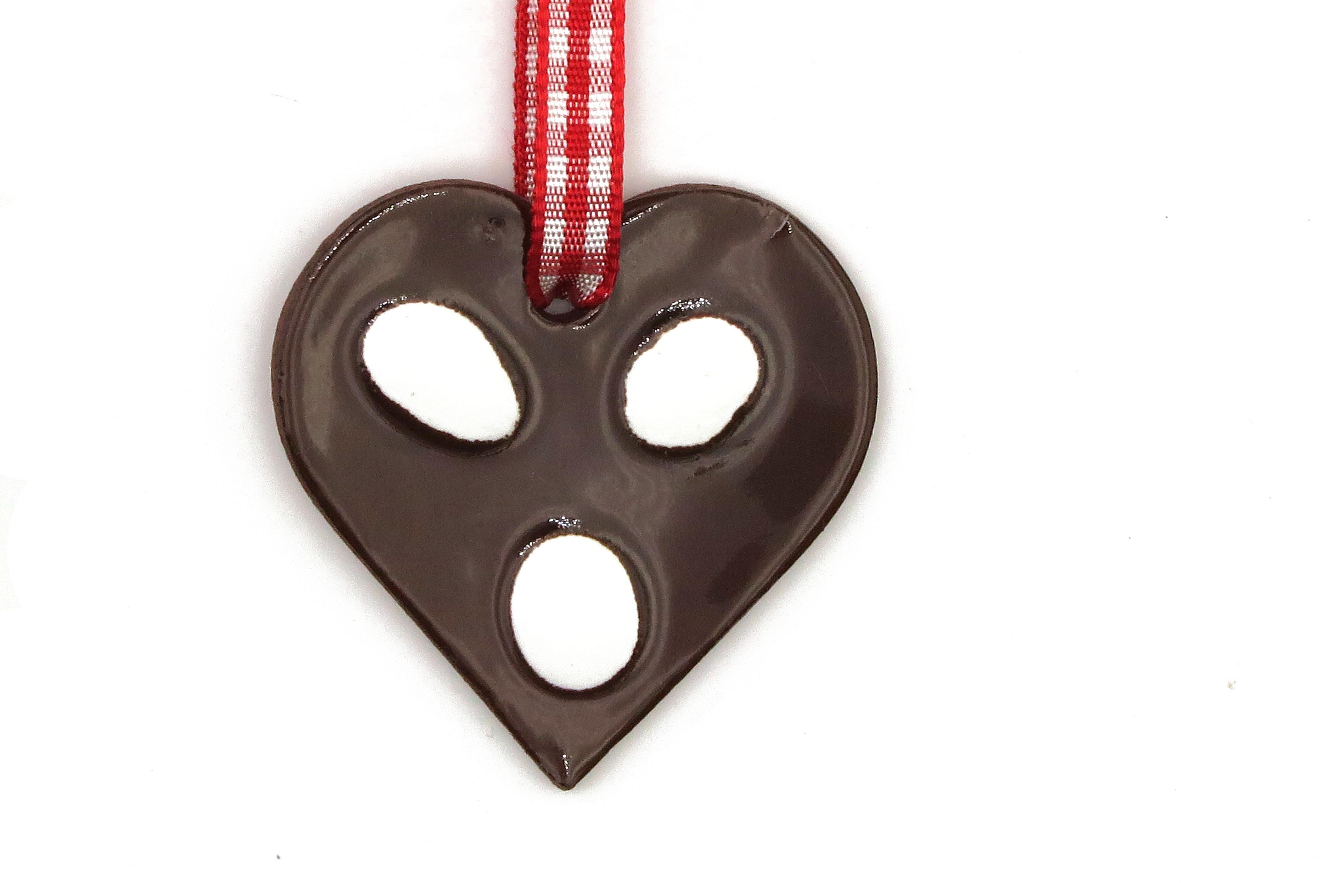 Schoko Lebkuchen Herz mit Zuckerguss Keramik Geschenk Anhänger Weihnachten/ M 4,5cm