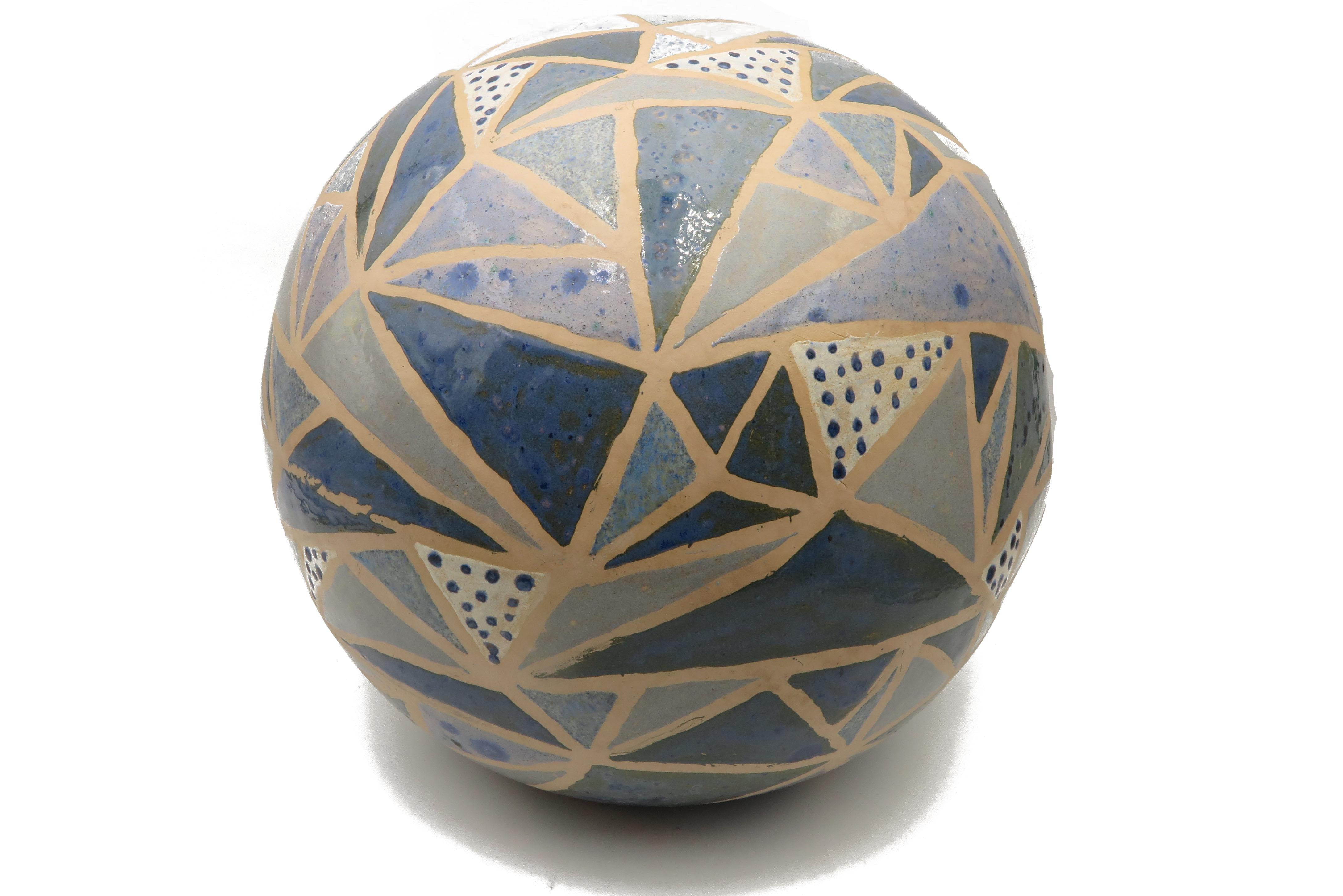 Kugel in Mosaikoptik, Blautönen  / L 28 cm