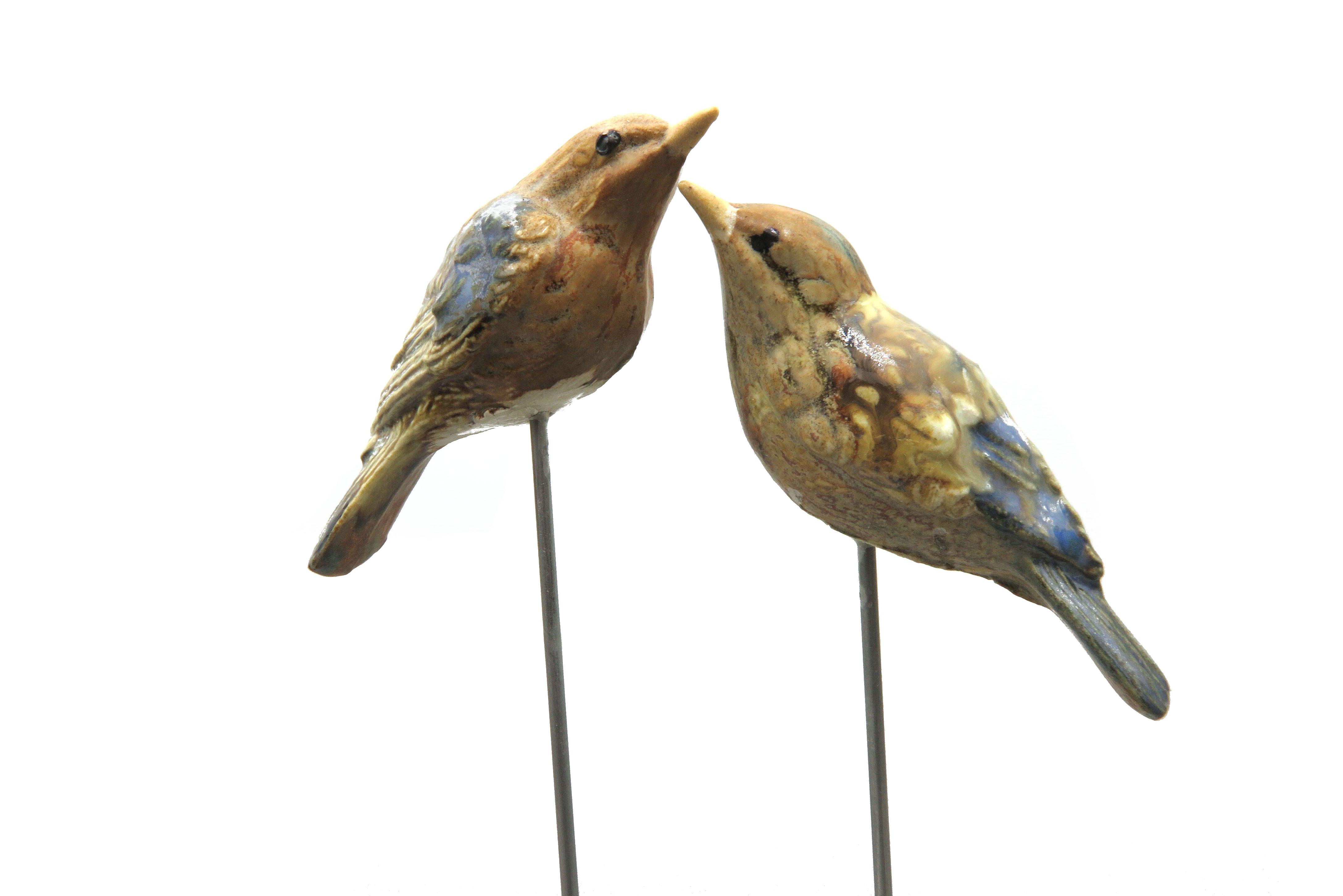 Steck- Vogel Fink blau grün 7,5 cm