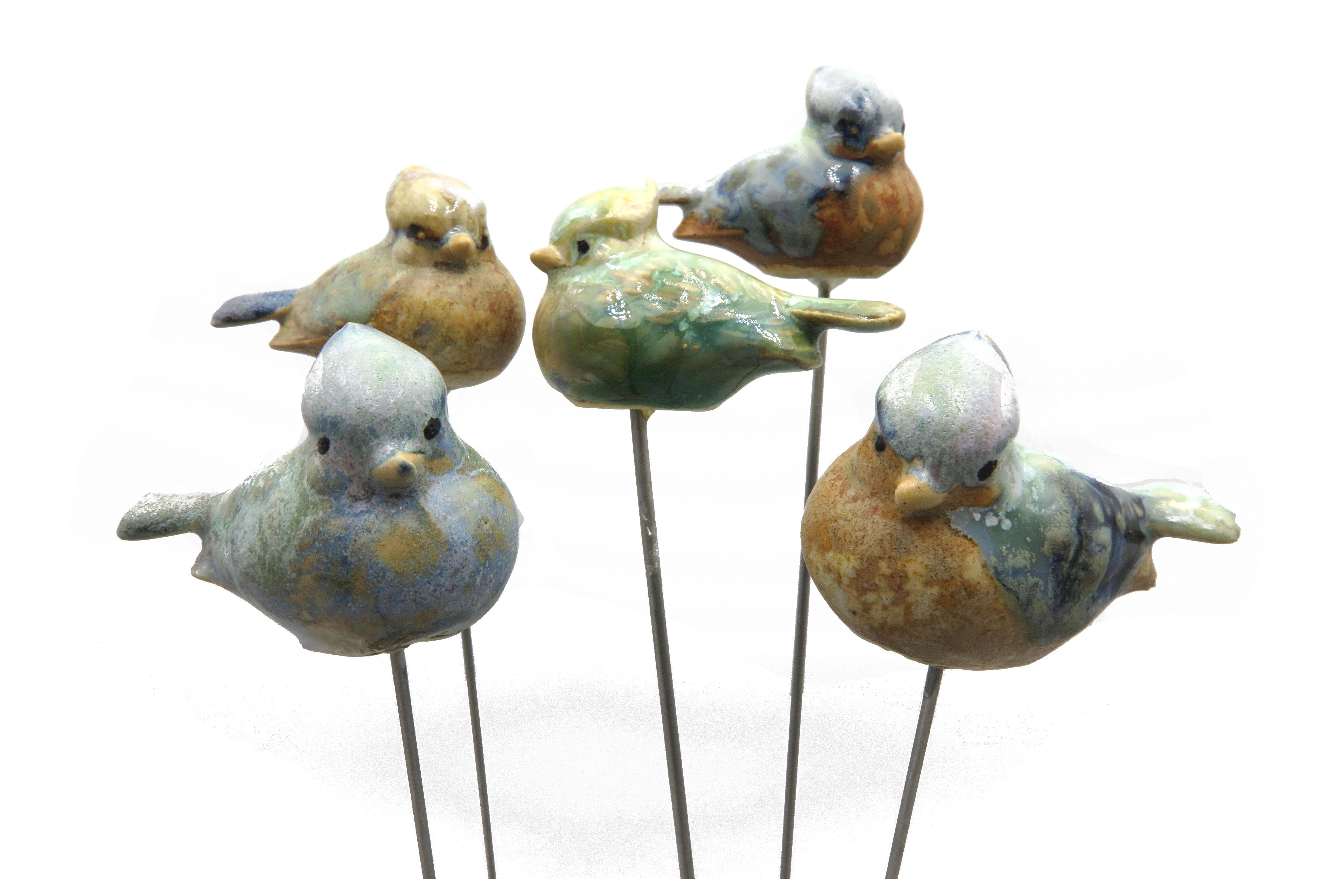 Steck-  Vogel Haubenmeise blau grün/  6 cm