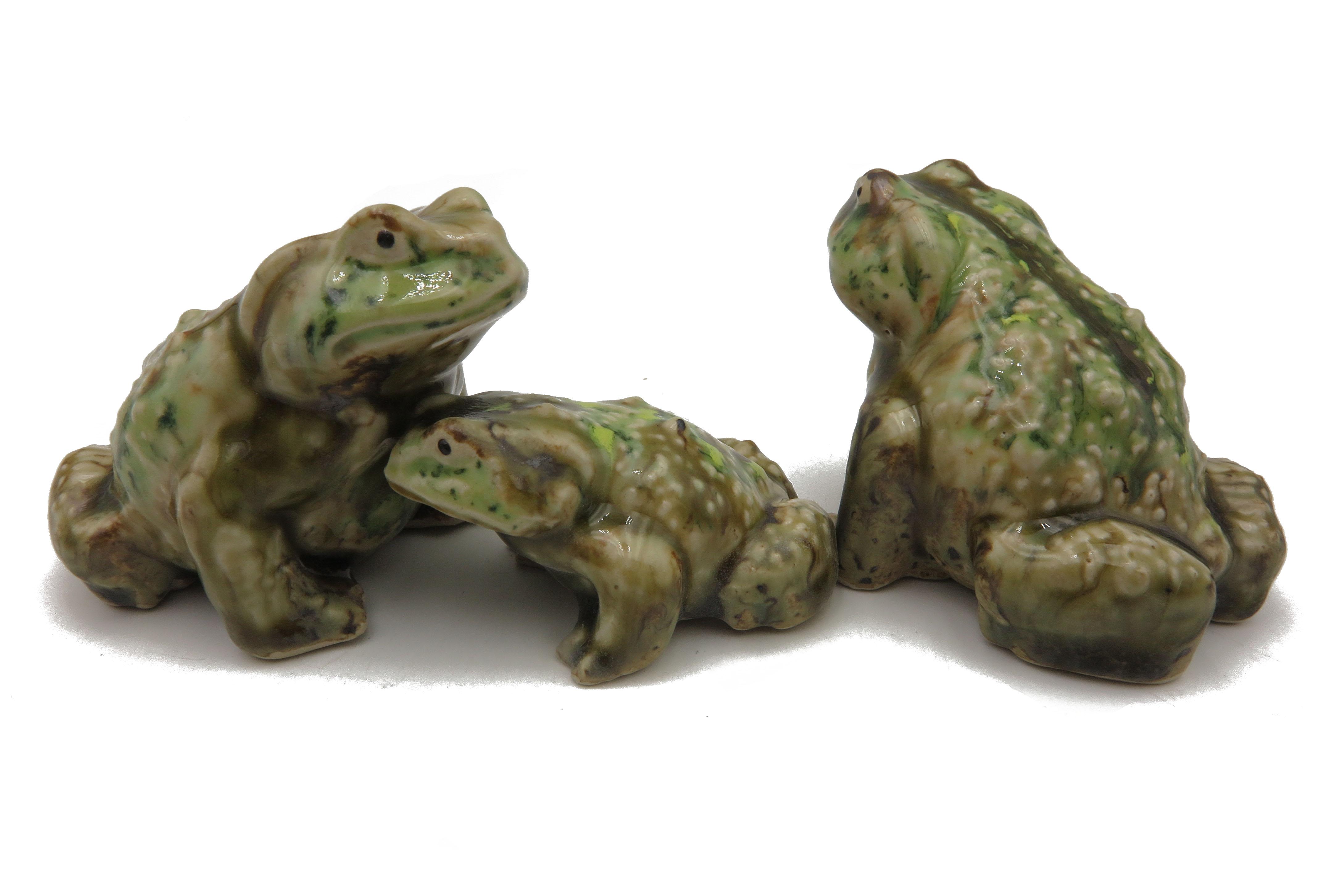 Frosch - Familie/ Kröte Waldgrün/ L 9cm, M 6,5 cm