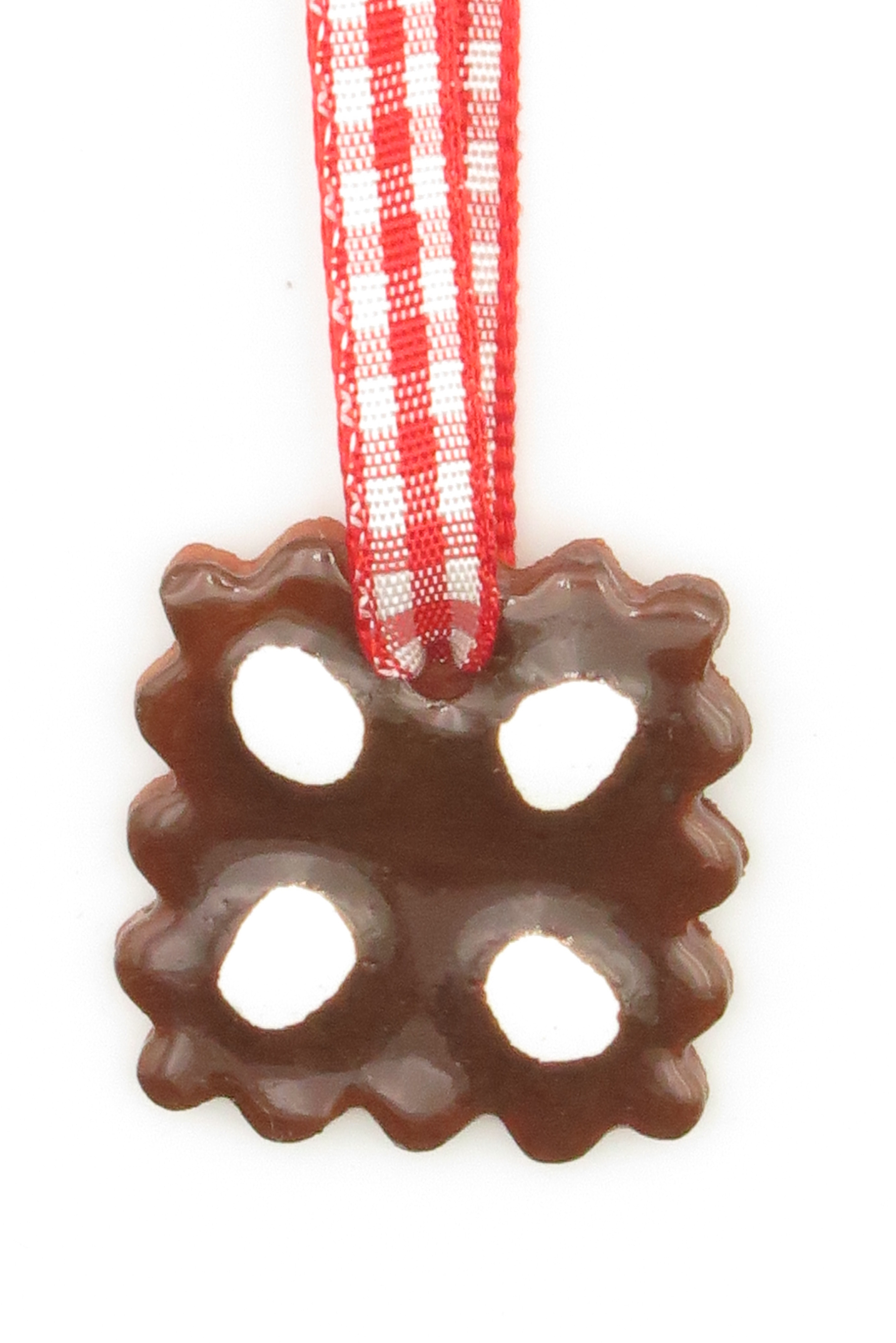 Schoko Lebkuchen mit Zuckerguss Keramik Geschenk Anhänger Weihnachten/ S 2,5cm