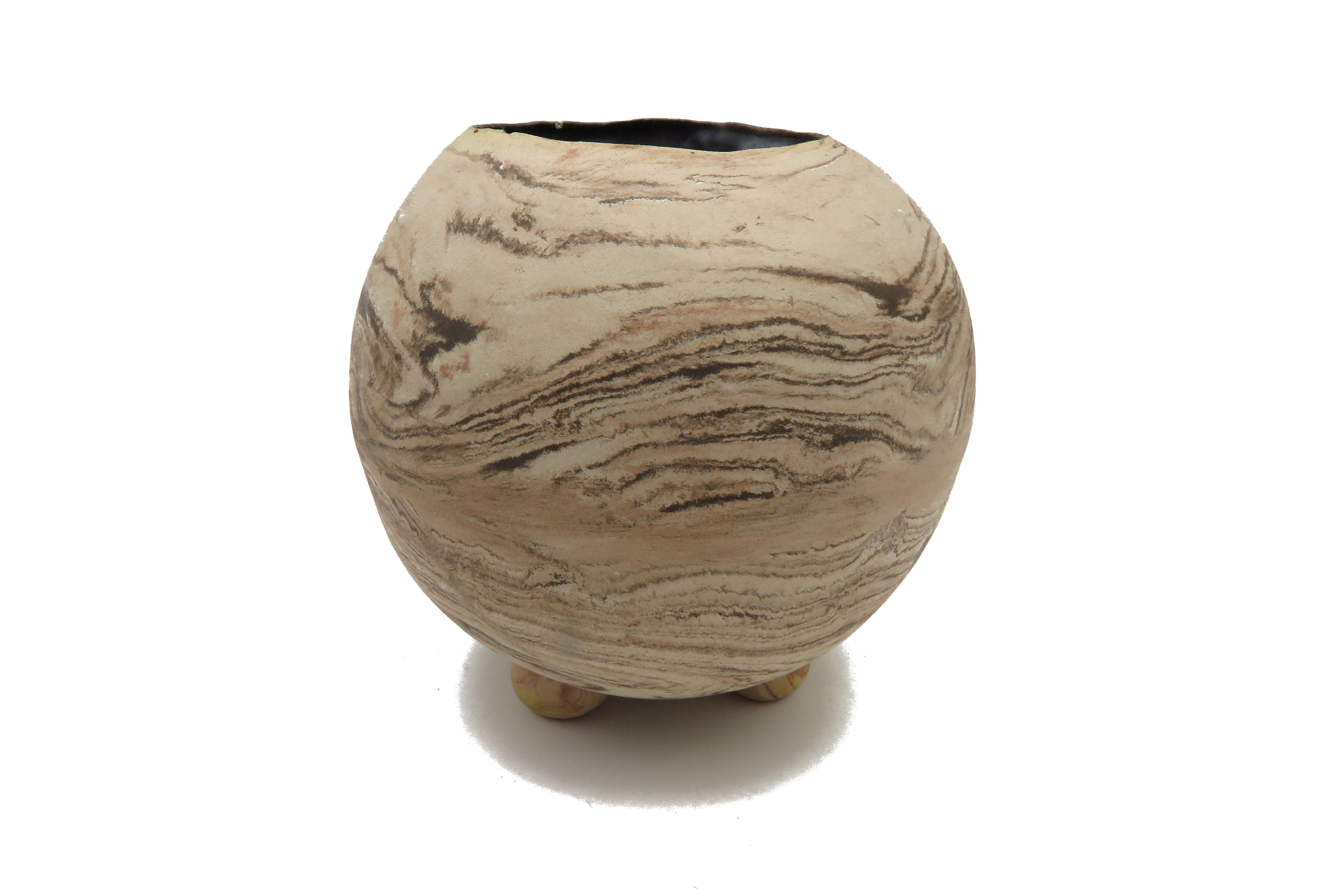 Kugelvase in Holz Optik / M 14cm