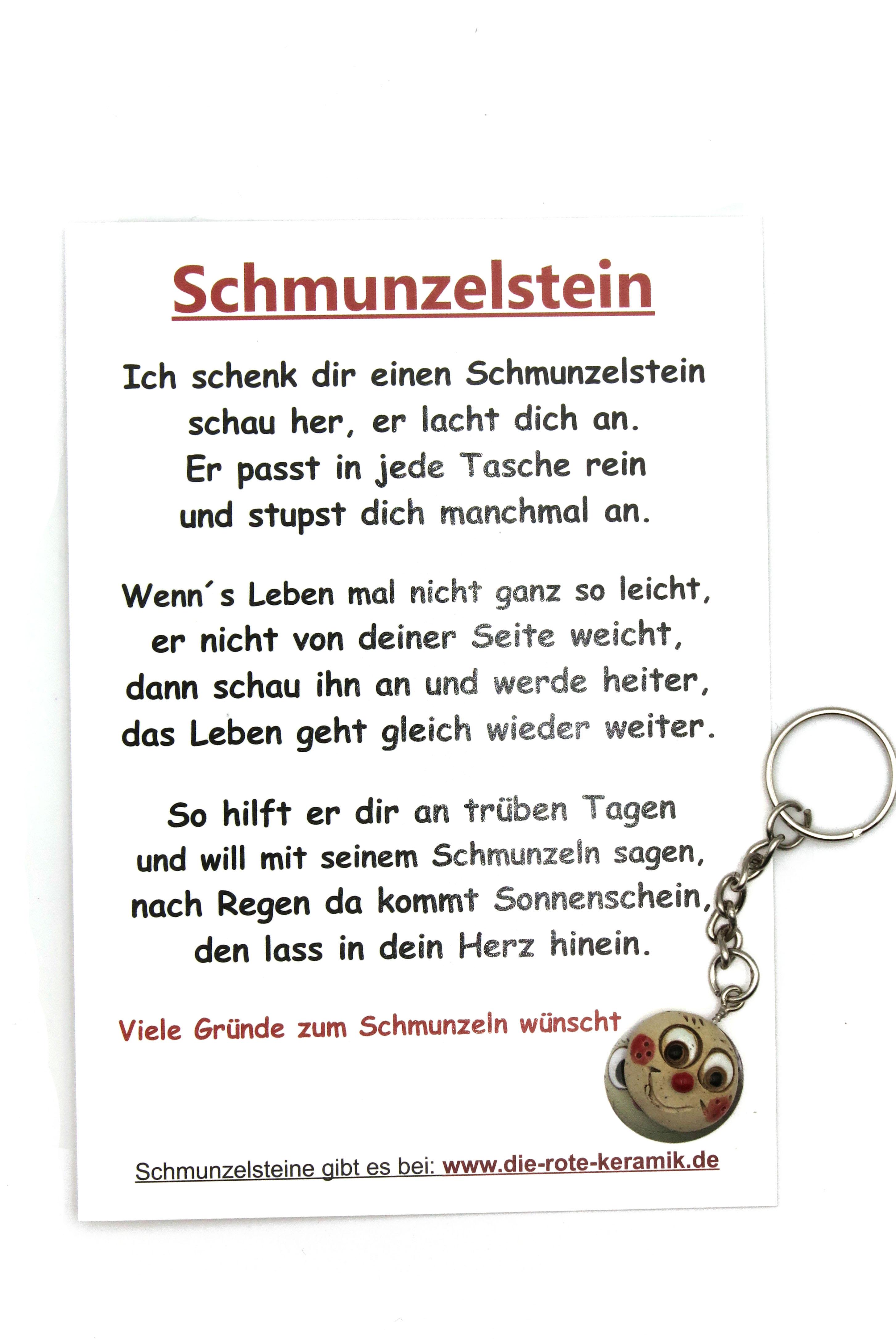 Schmunzelstein Schlüsselanhänger mit Spruch-Postkarte in Größe S/ 1,5cm