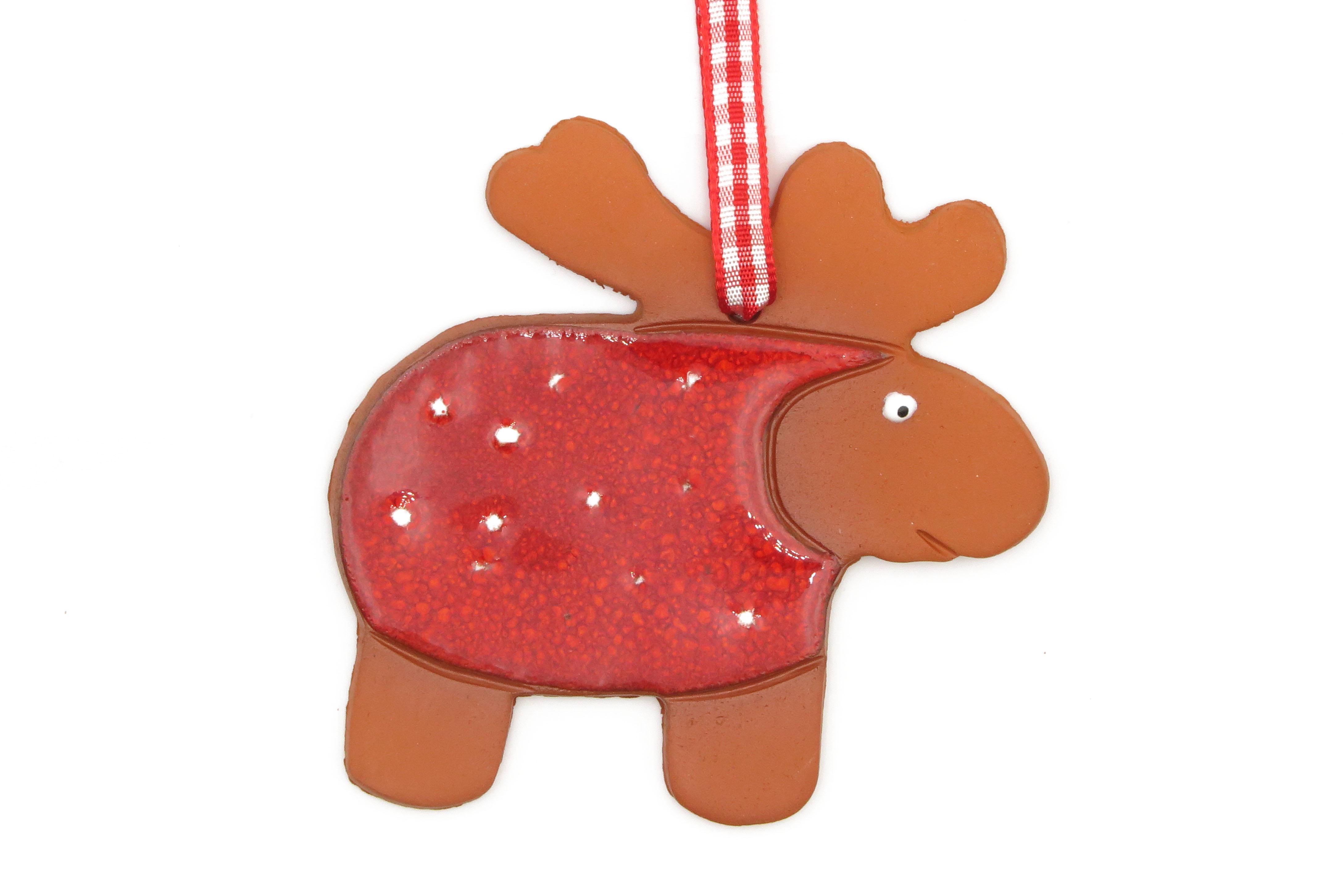 Elch Geschenk Anhänger Weihnachten rot/ M 8cm
