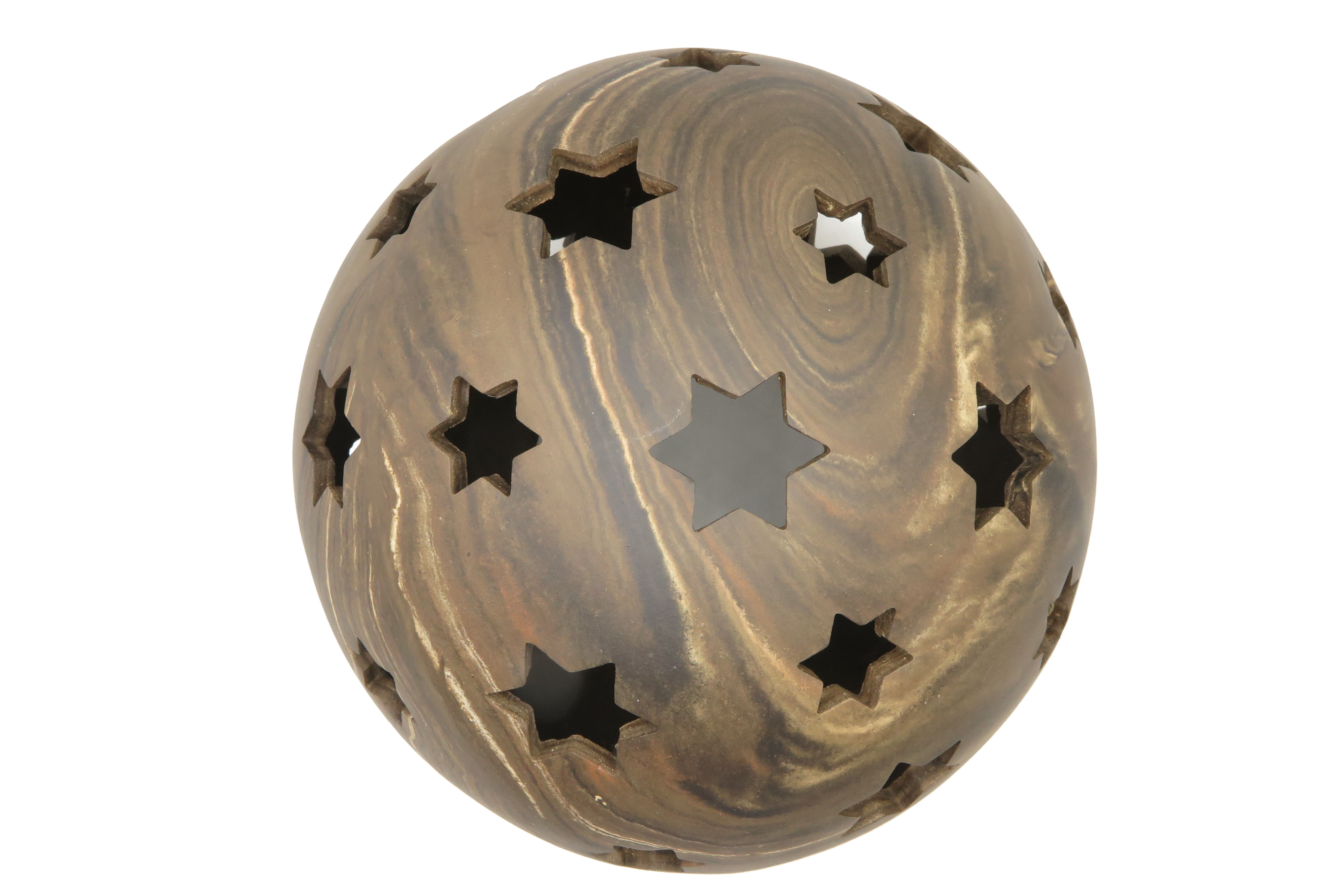 Kugel zum Beleuchten in Stein/ Holz Optik/ M 23 cm