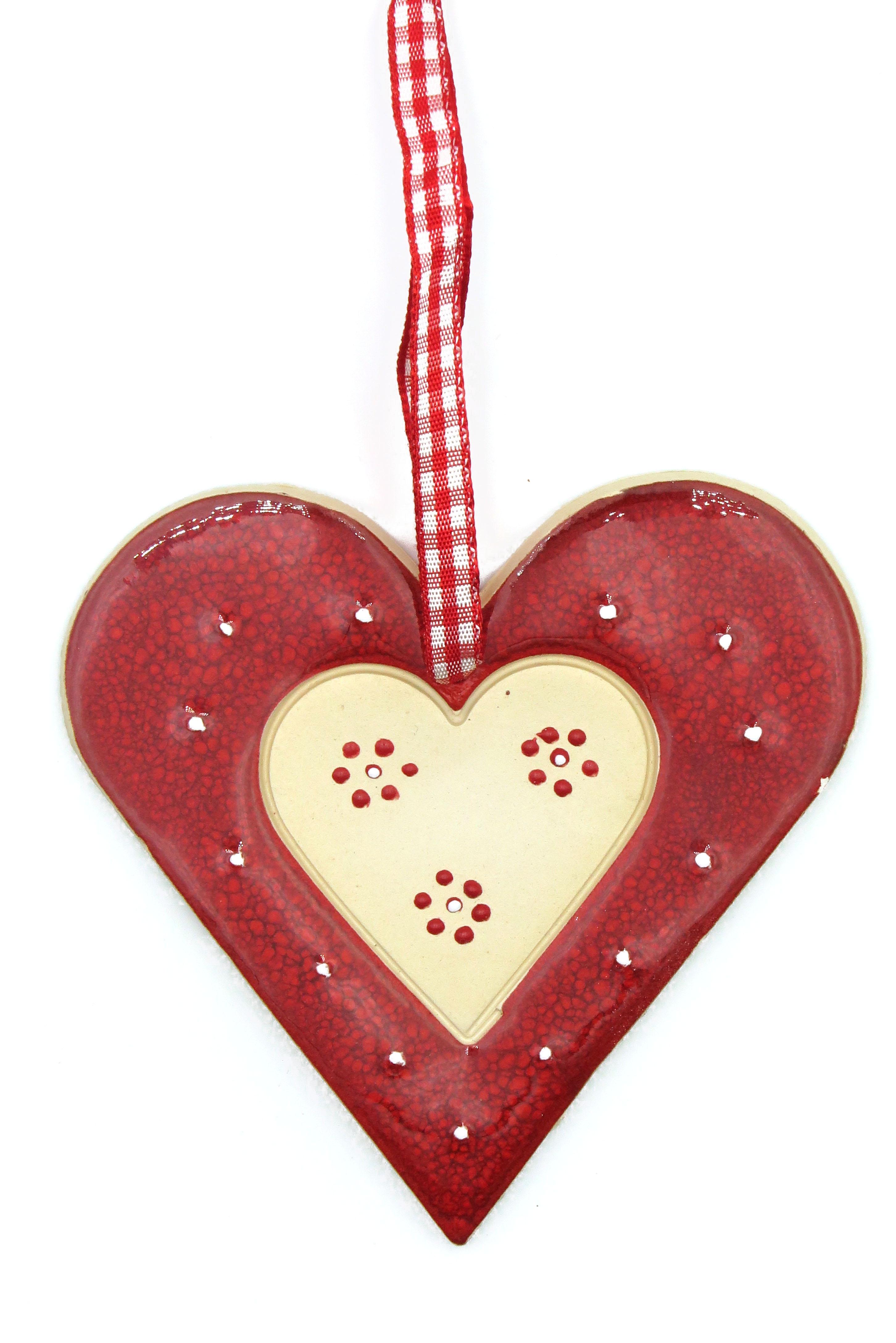 Herz Keramik Geschenk Anhänger rot/ L 9cm